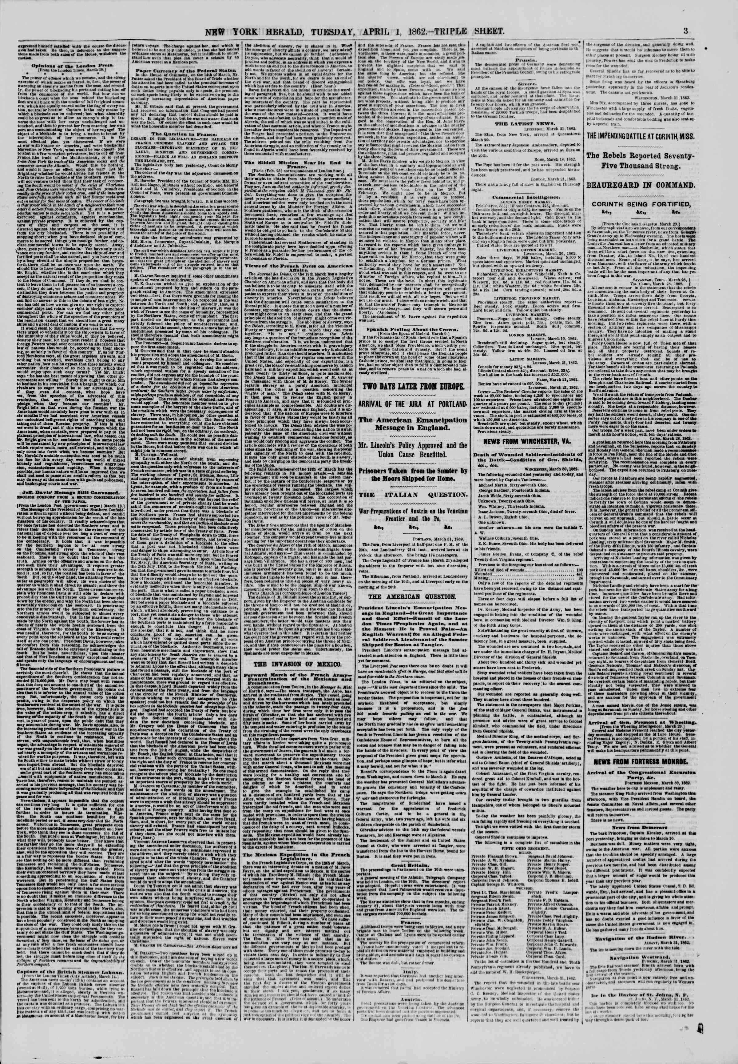 Newspaper of The New York Herald dated April 1, 1862 Page 3