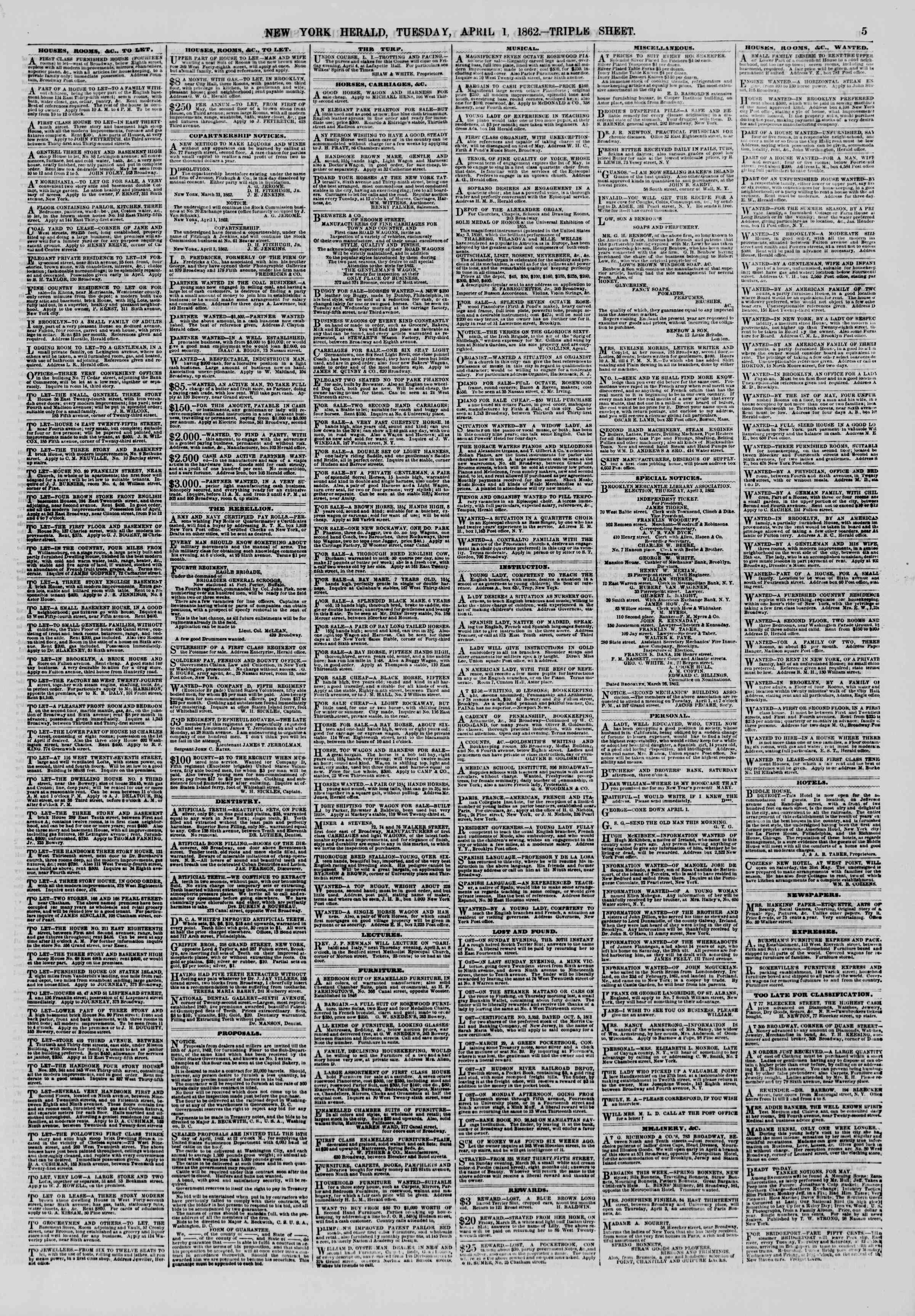 1 Nisan 1862 tarihli The New York Herald Gazetesi Sayfa 5