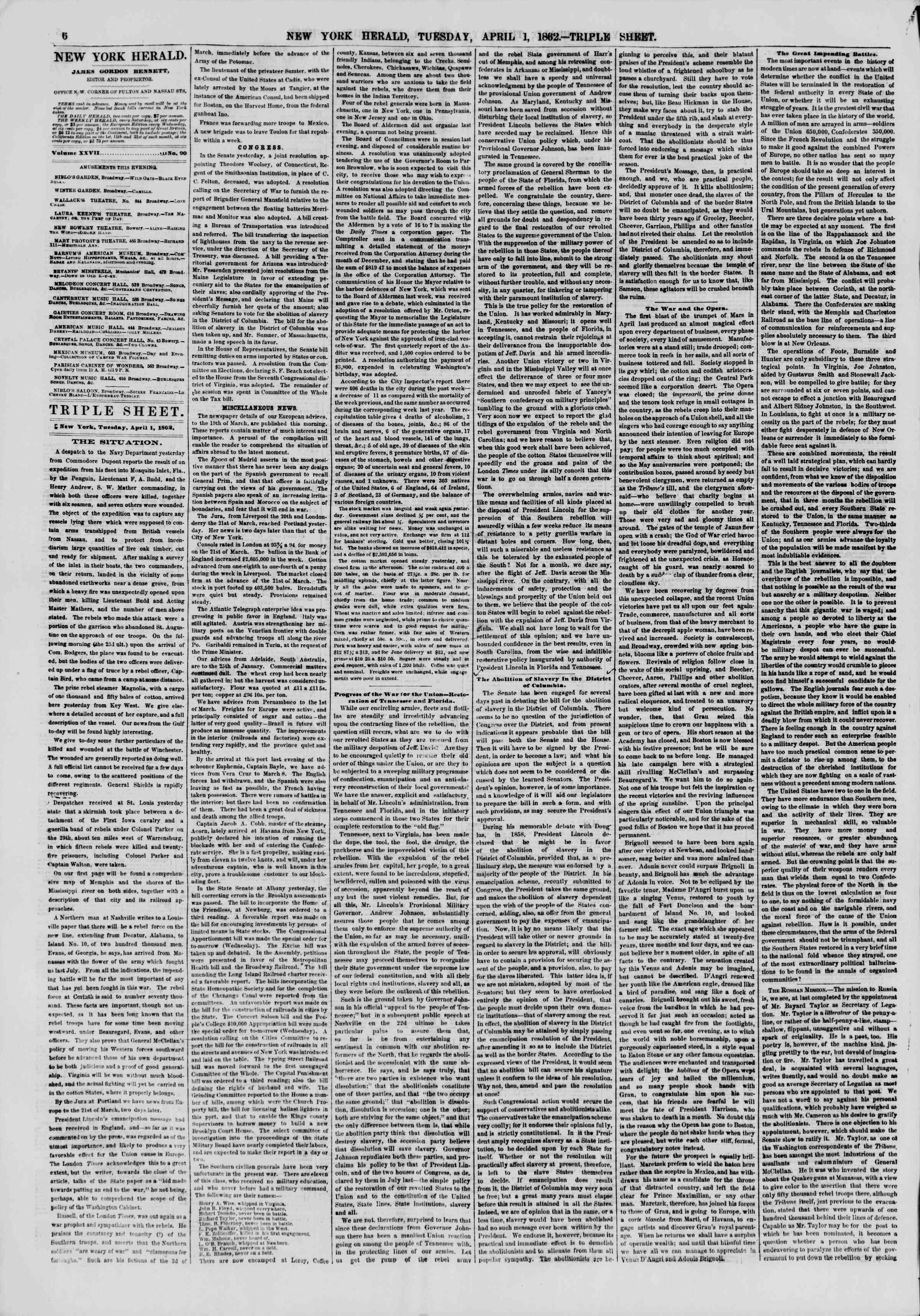 1 Nisan 1862 tarihli The New York Herald Gazetesi Sayfa 6