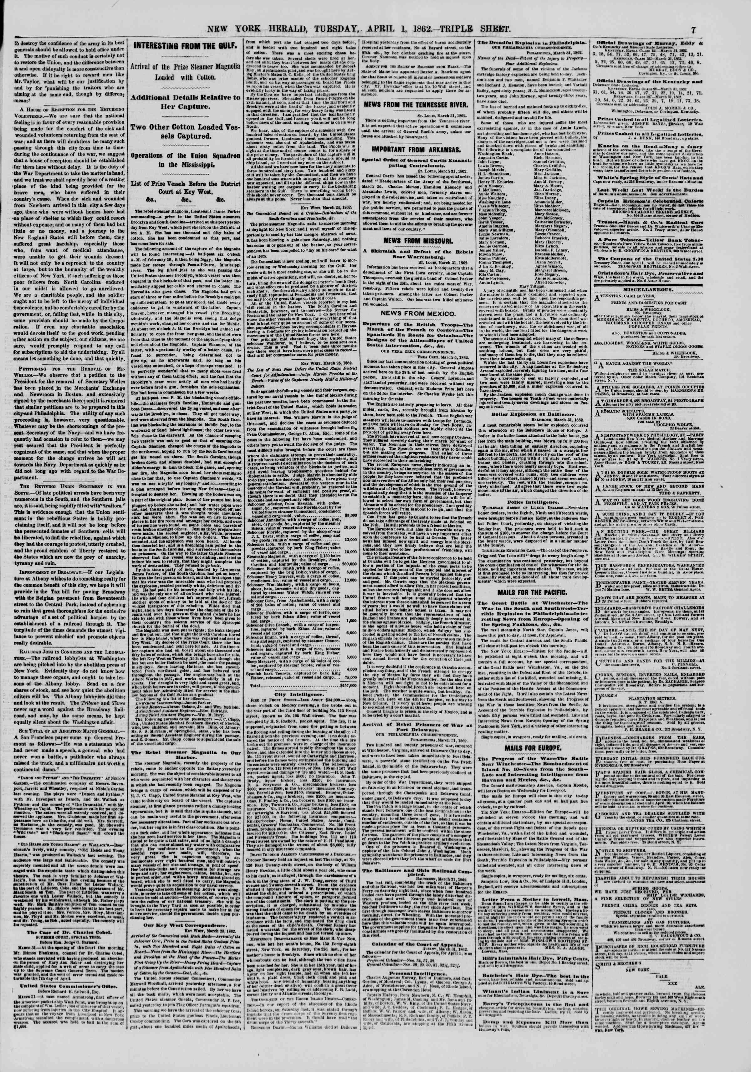 Newspaper of The New York Herald dated April 1, 1862 Page 7