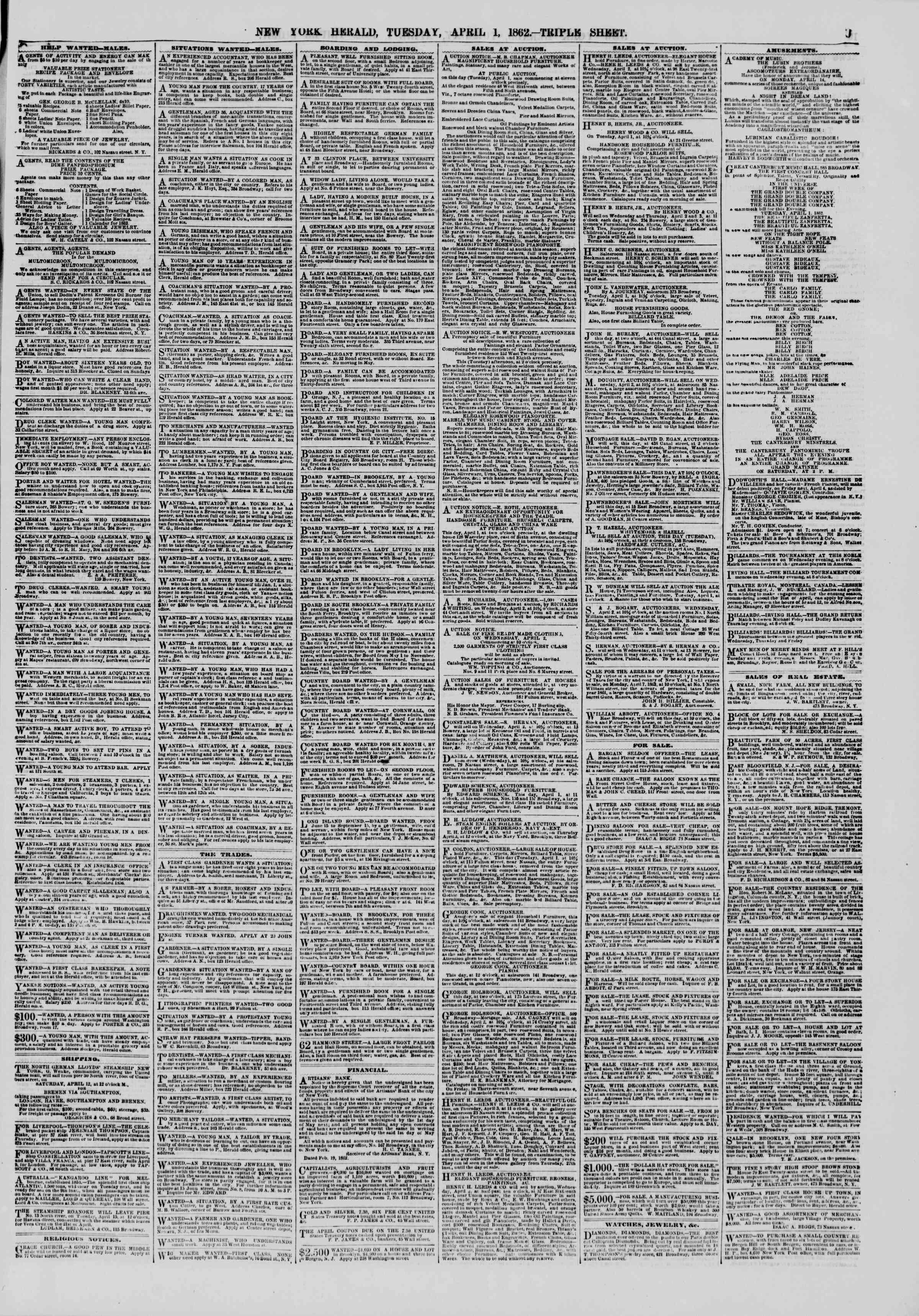 1 Nisan 1862 tarihli The New York Herald Gazetesi Sayfa 9