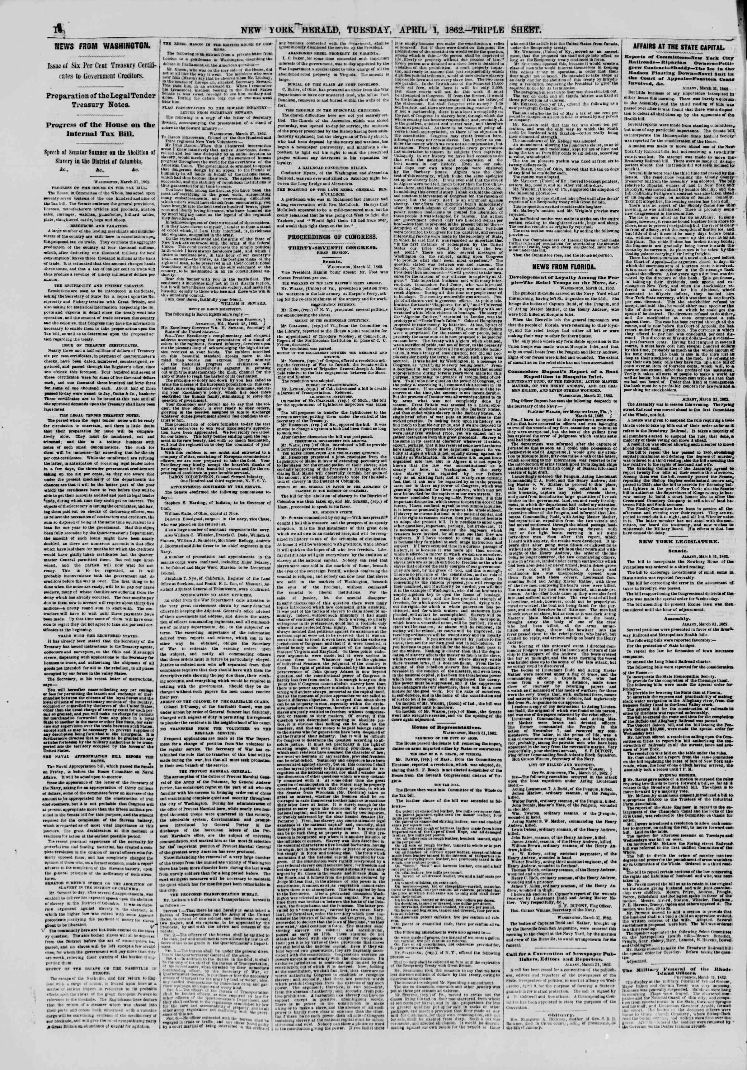 Newspaper of The New York Herald dated April 1, 1862 Page 10
