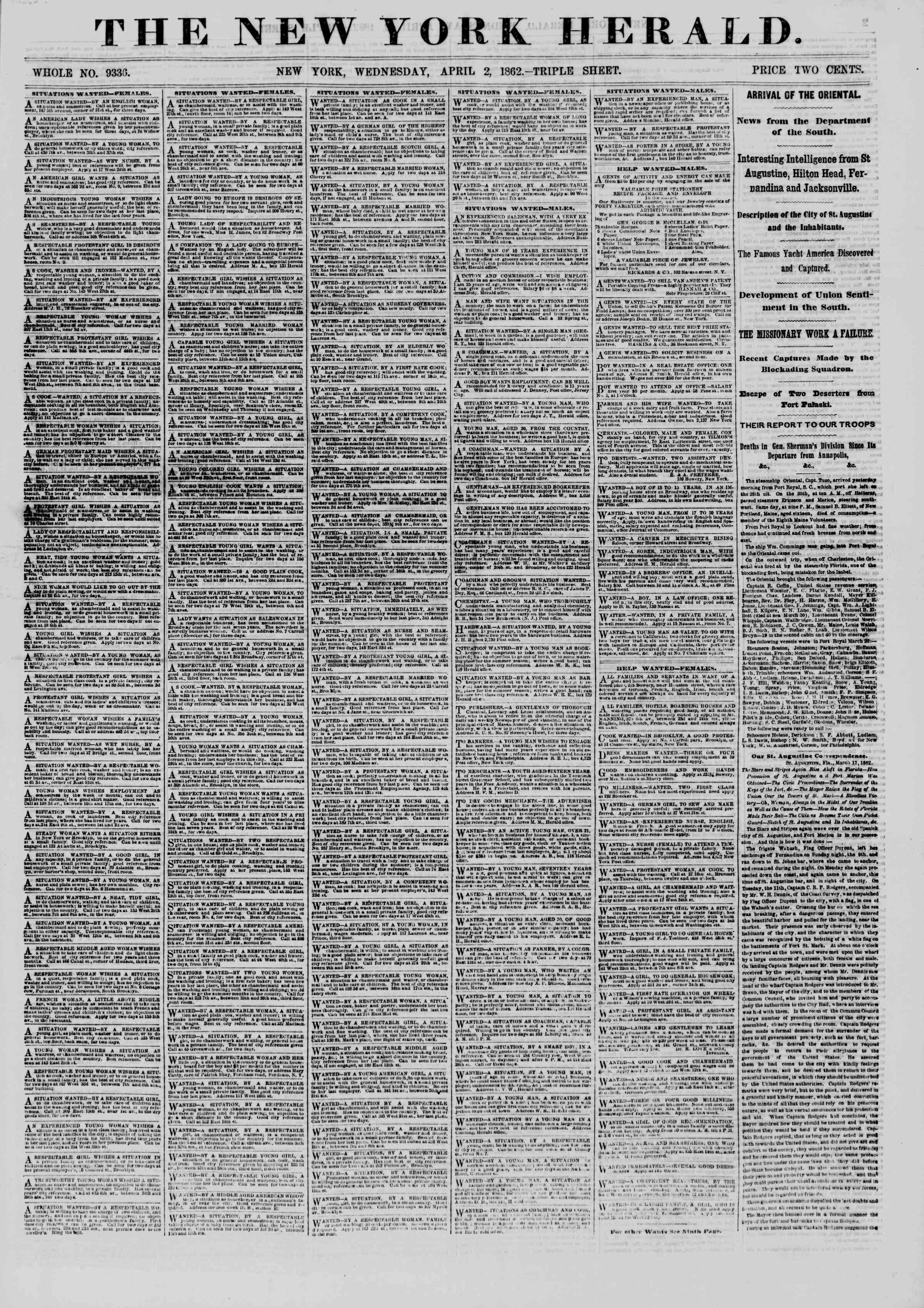 Newspaper of The New York Herald dated April 2, 1862 Page 1