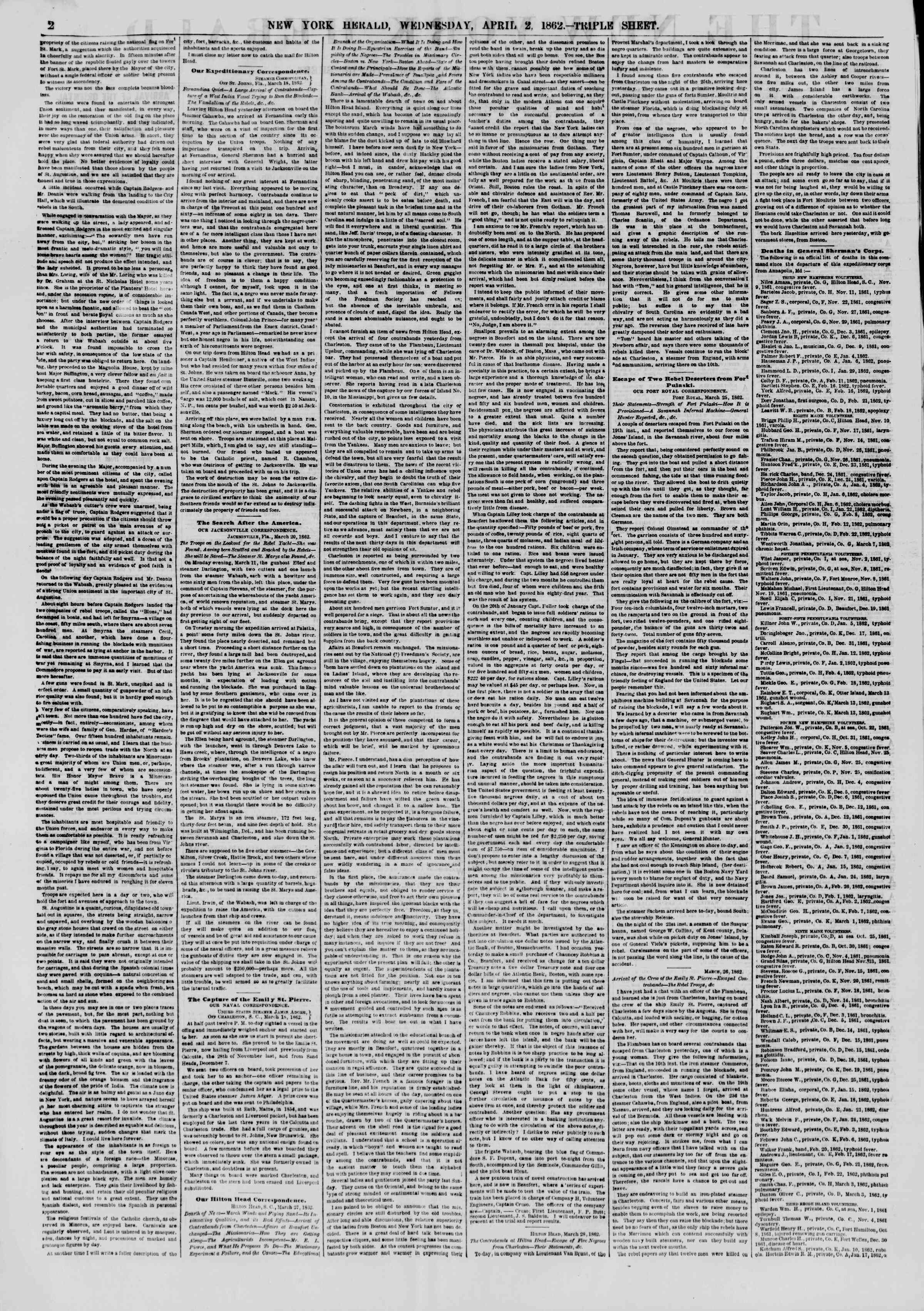 Newspaper of The New York Herald dated April 2, 1862 Page 2