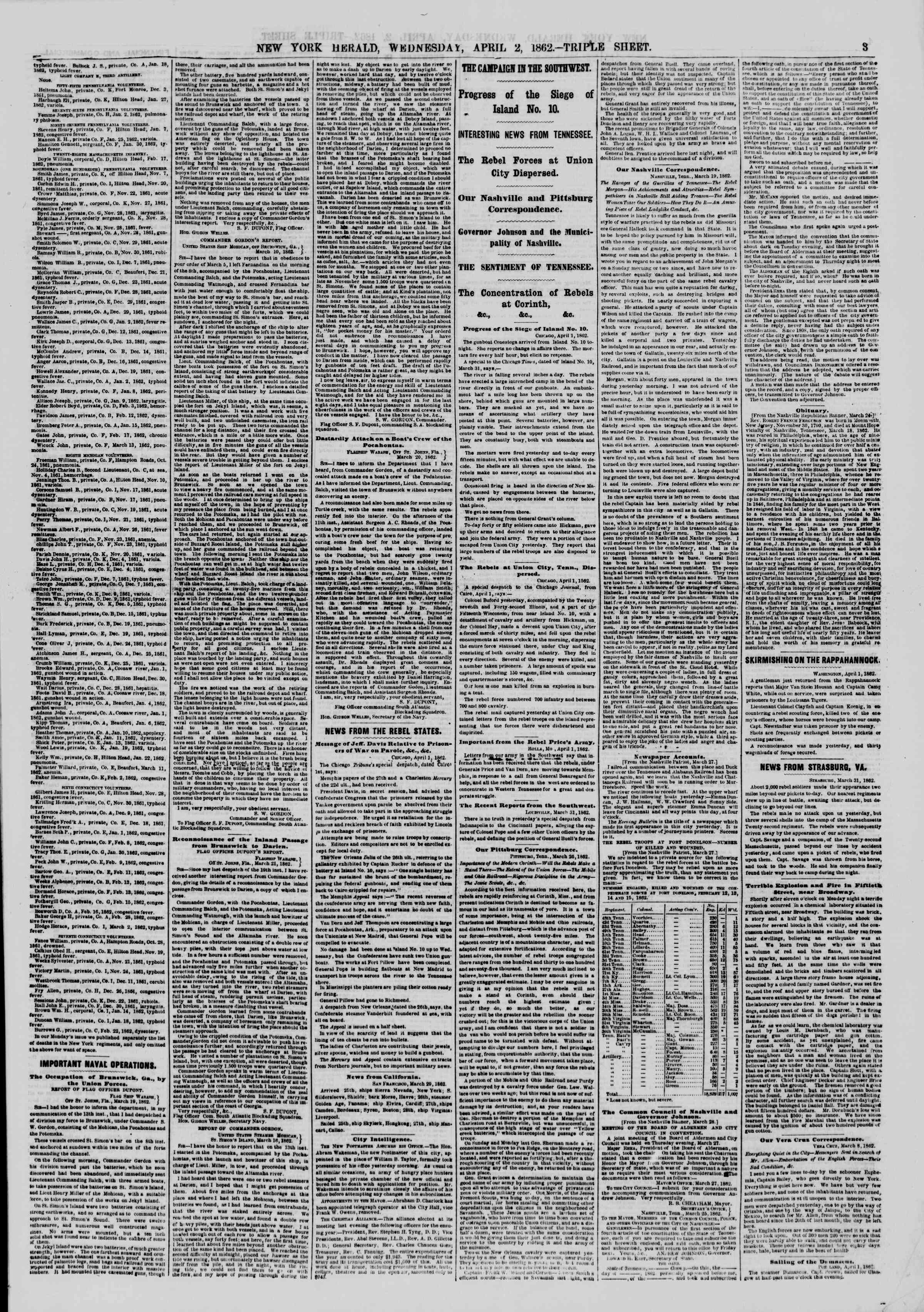 Newspaper of The New York Herald dated April 2, 1862 Page 3