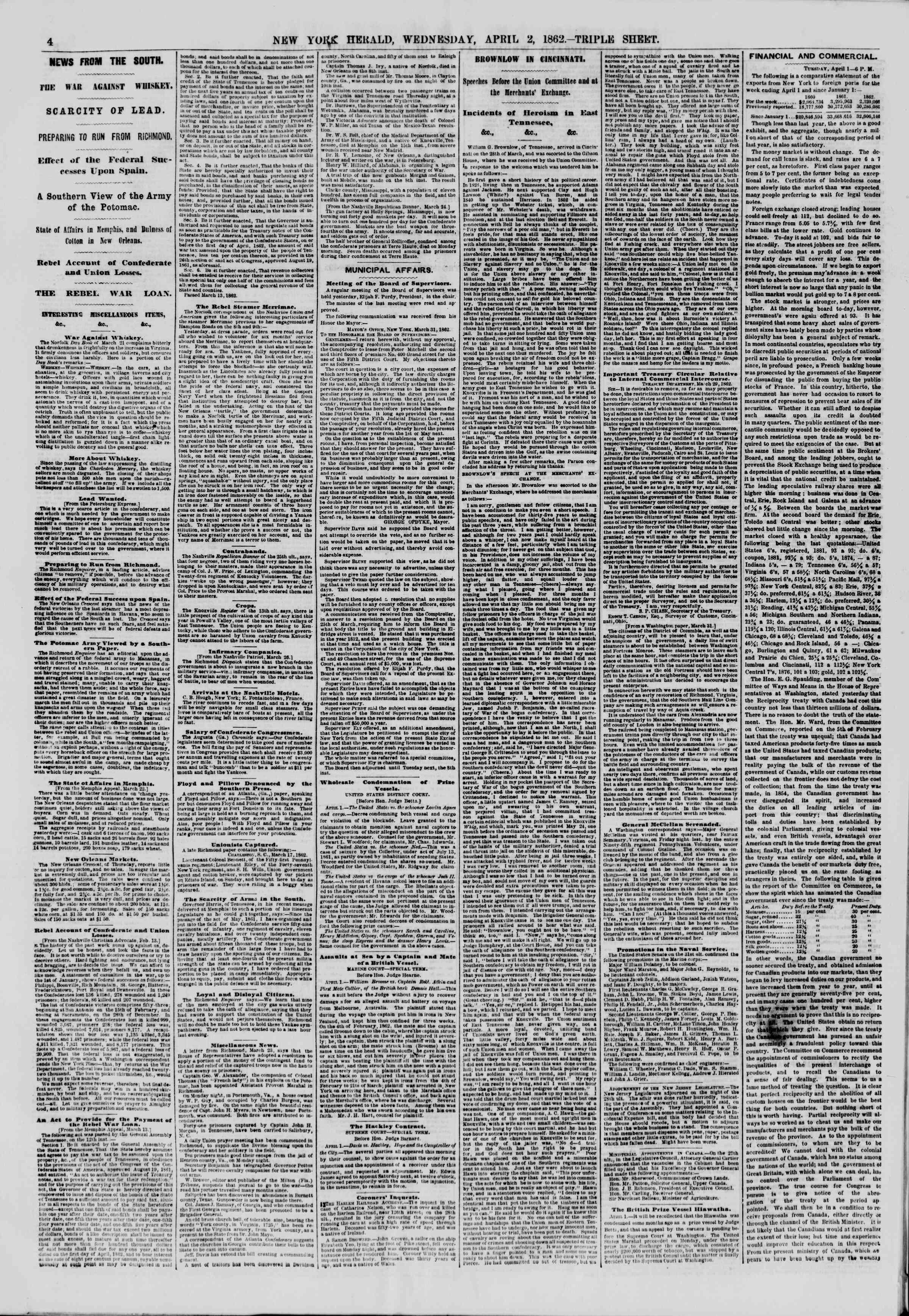 2 Nisan 1862 tarihli The New York Herald Gazetesi Sayfa 4
