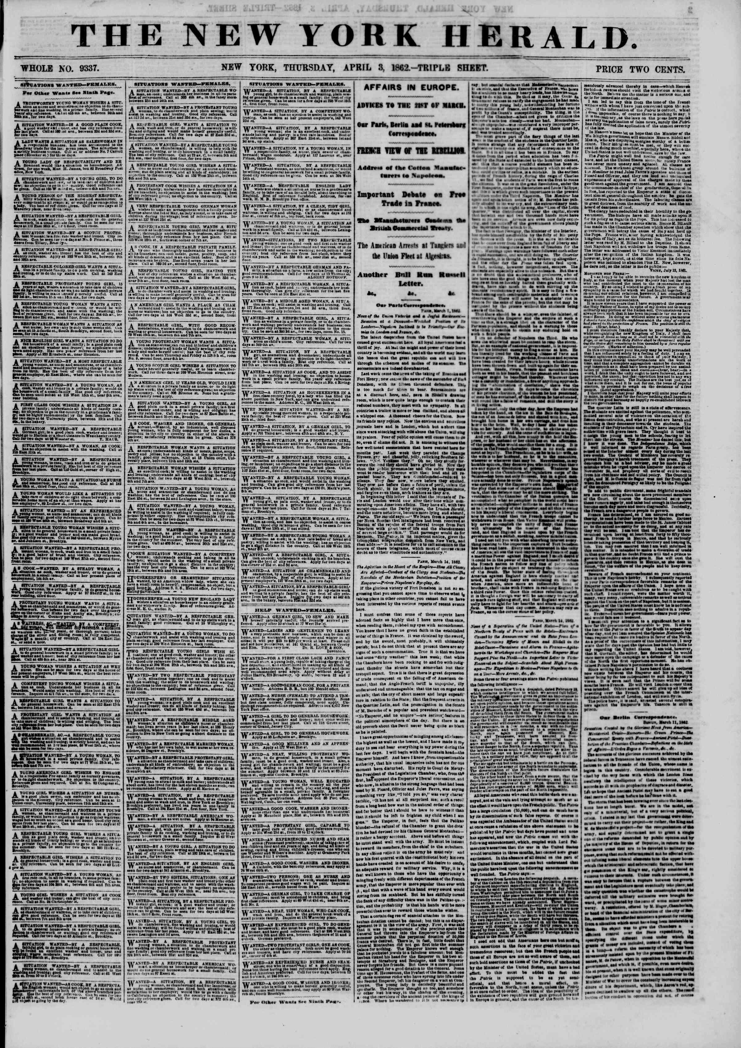 Newspaper of The New York Herald dated April 3, 1862 Page 1