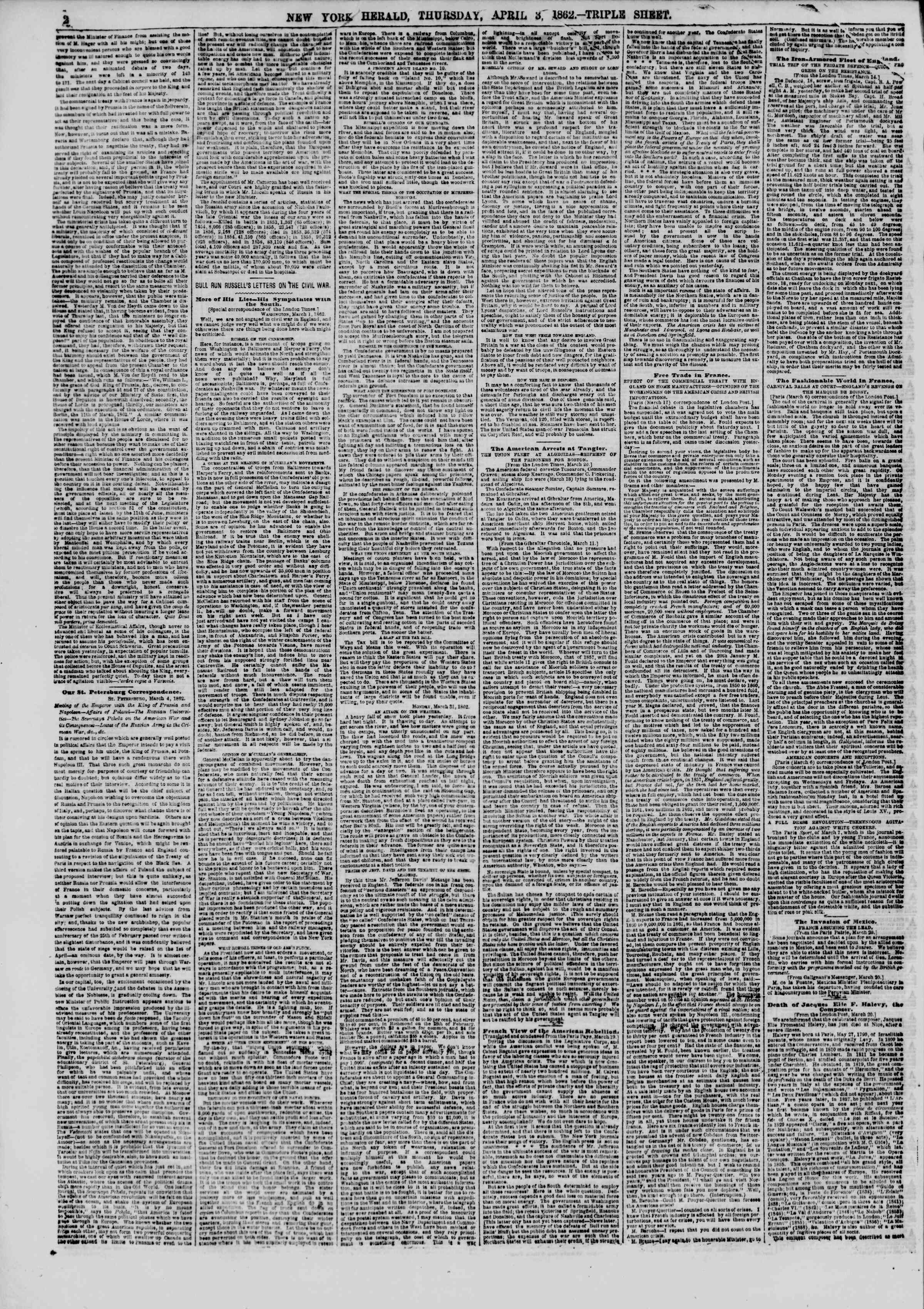 Newspaper of The New York Herald dated April 3, 1862 Page 2
