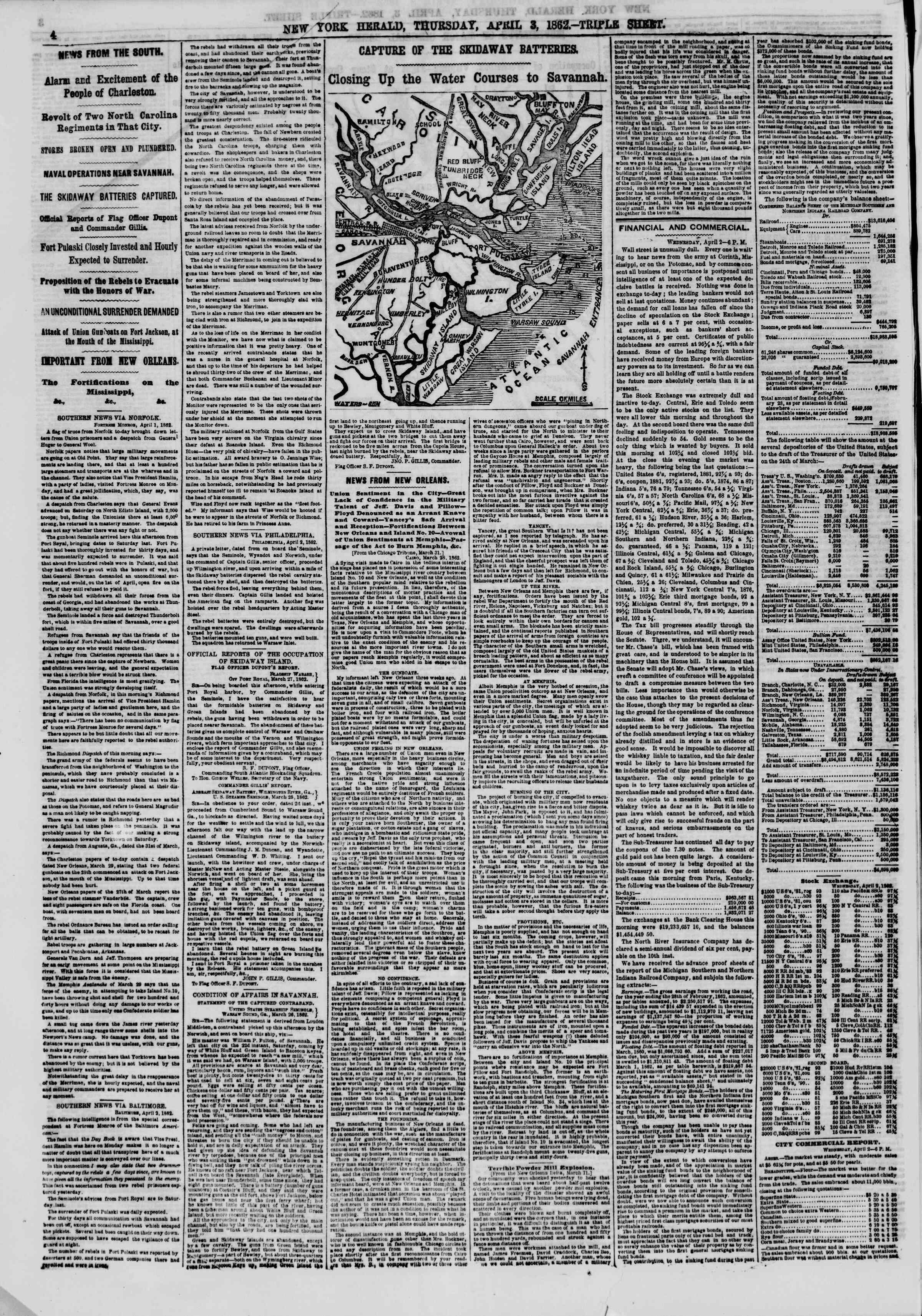 Newspaper of The New York Herald dated April 3, 1862 Page 4