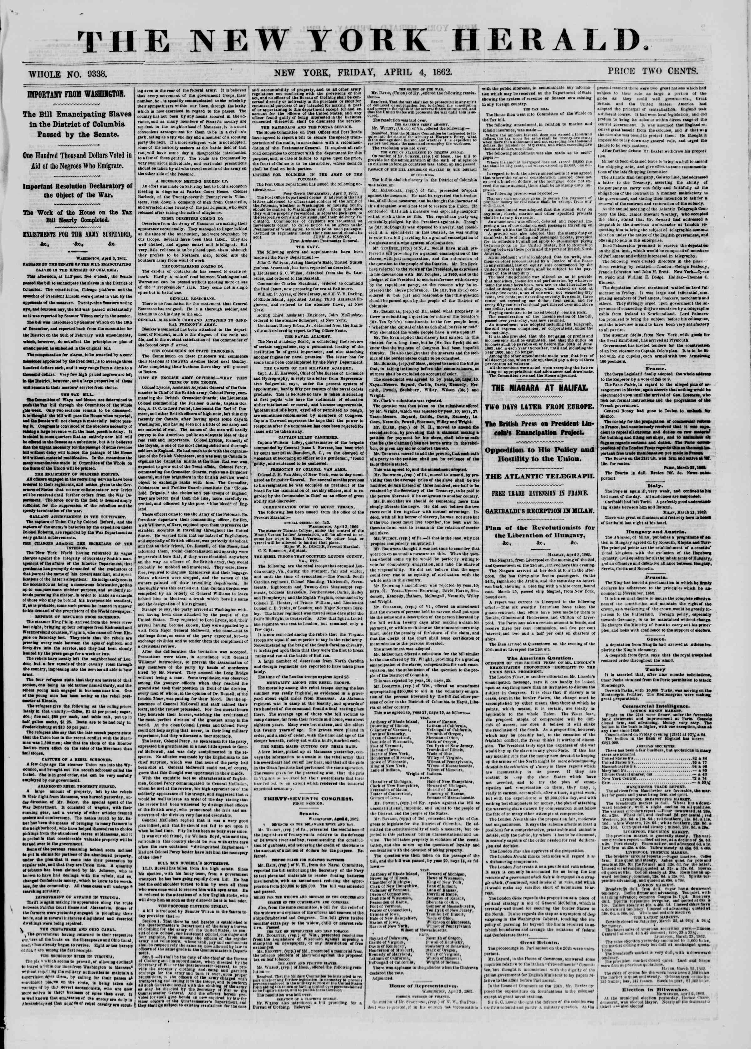 Newspaper of The New York Herald dated 4 Nisan 1862 Page 1