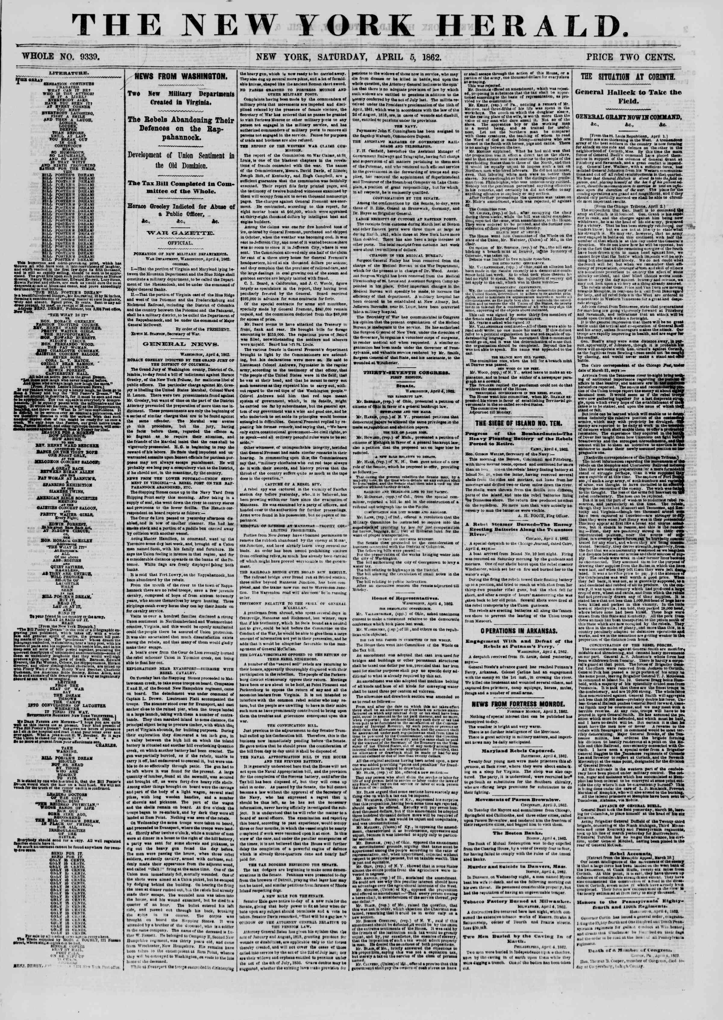5 Nisan 1862 tarihli The New York Herald Gazetesi Sayfa 1