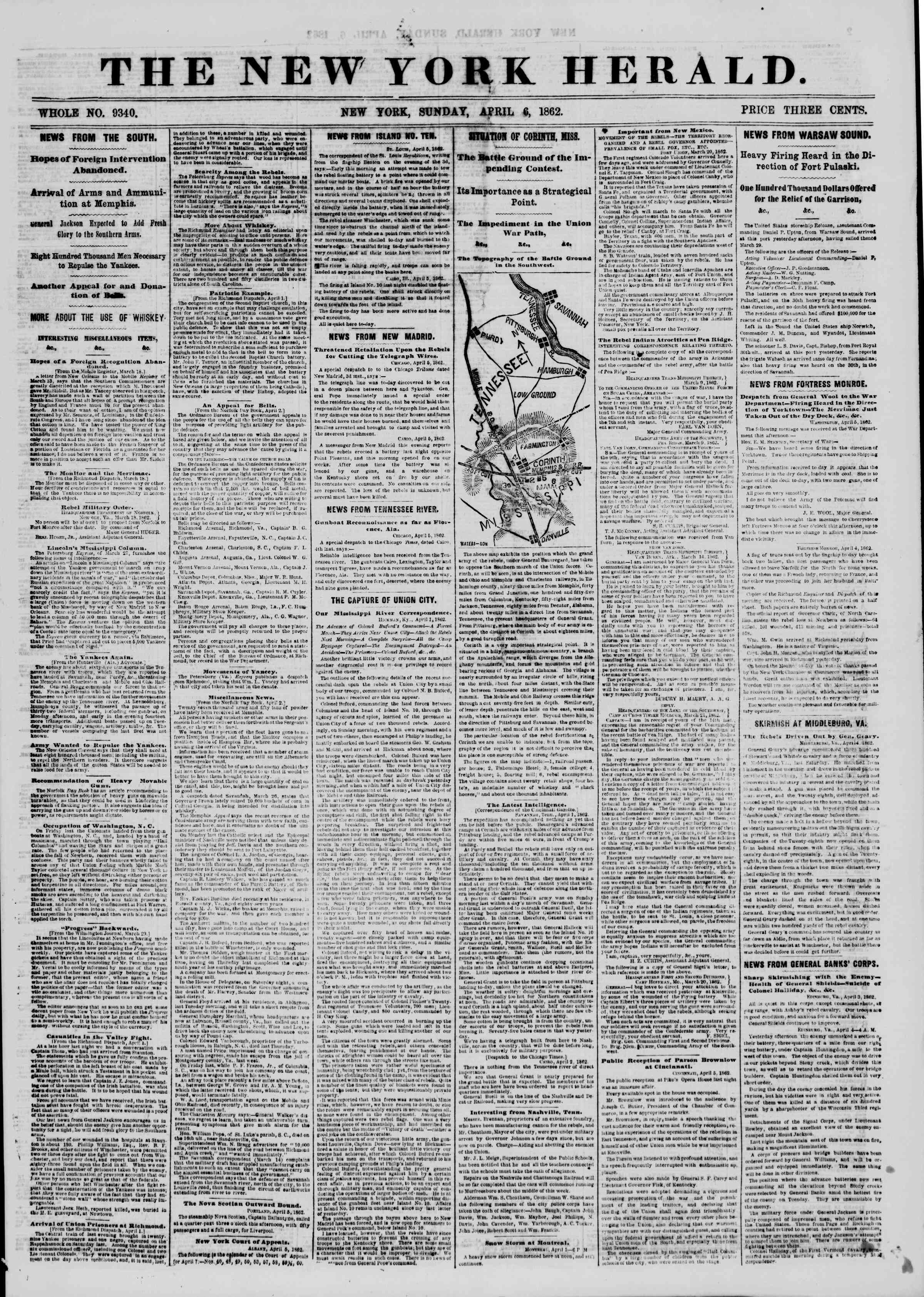Newspaper of The New York Herald dated April 6, 1862 Page 1