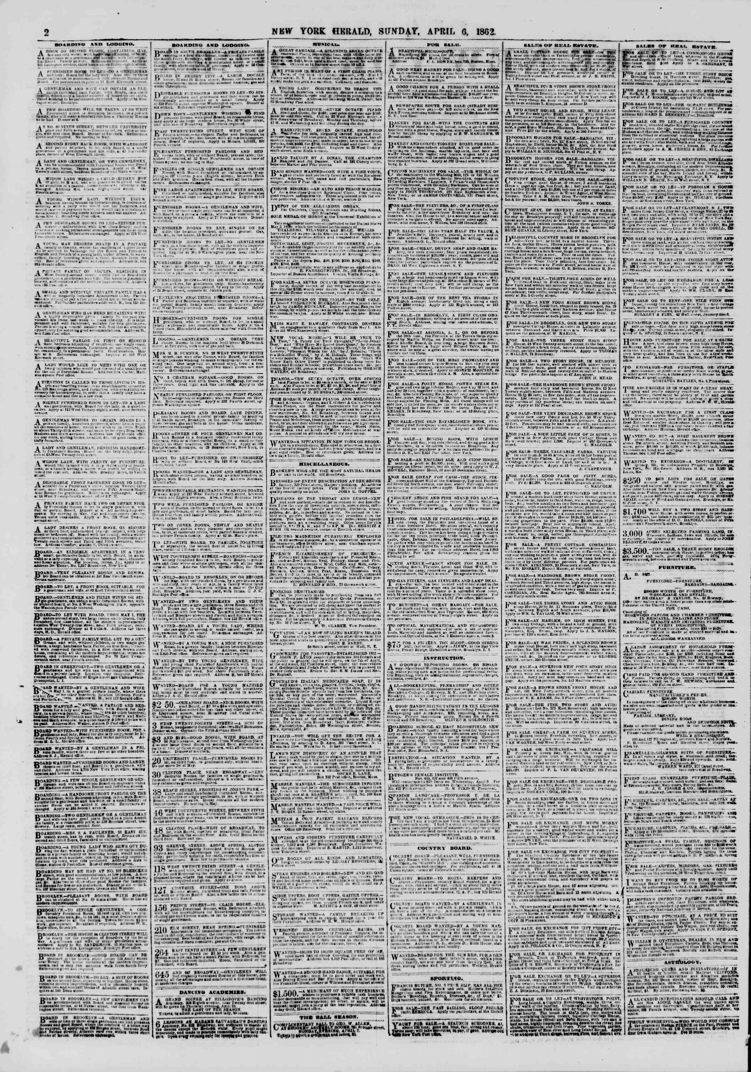 Newspaper of The New York Herald dated April 6, 1862 Page 2