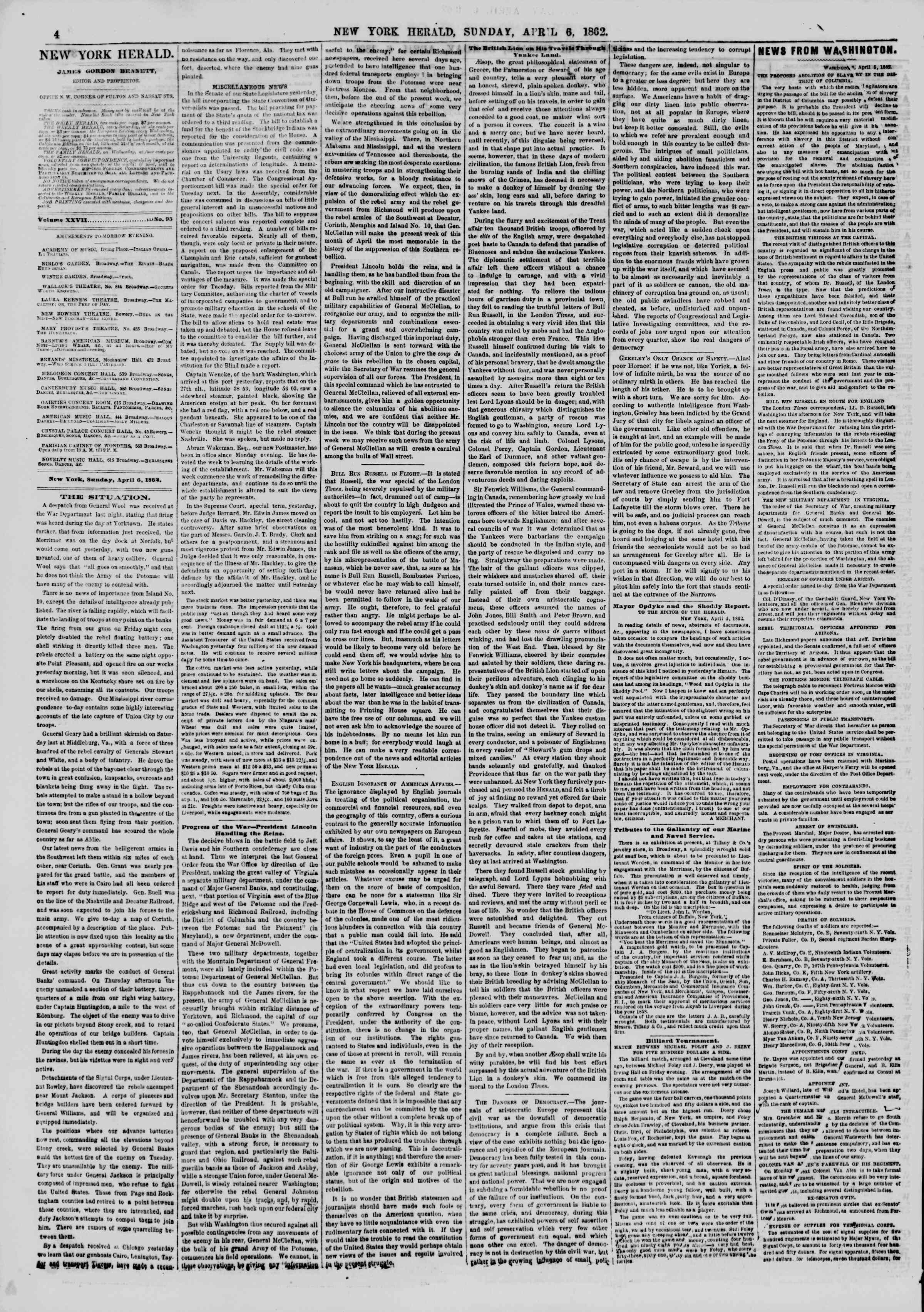 Newspaper of The New York Herald dated April 6, 1862 Page 4