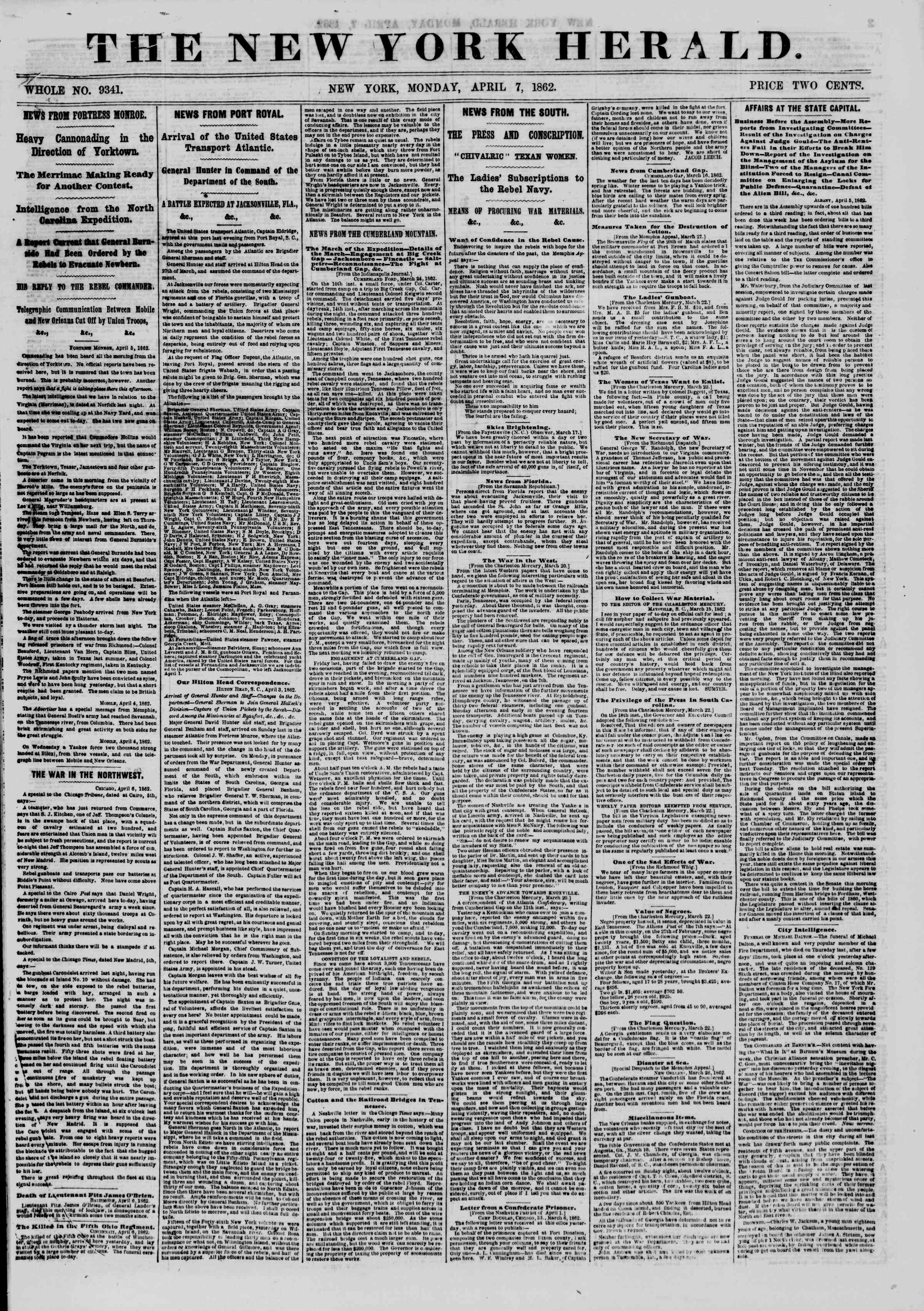 Newspaper of The New York Herald dated April 7, 1862 Page 1