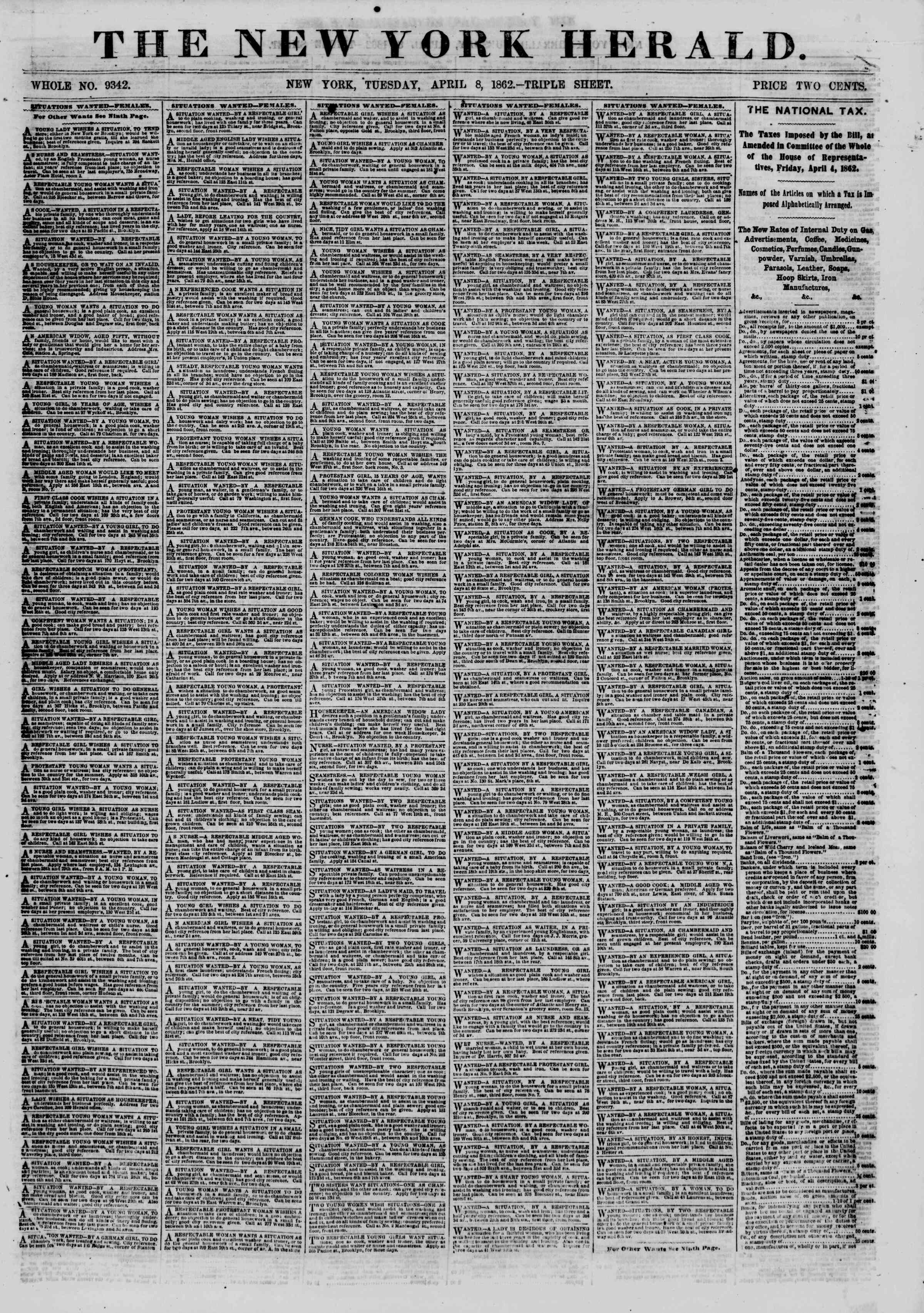 Newspaper of The New York Herald dated April 8, 1862 Page 1