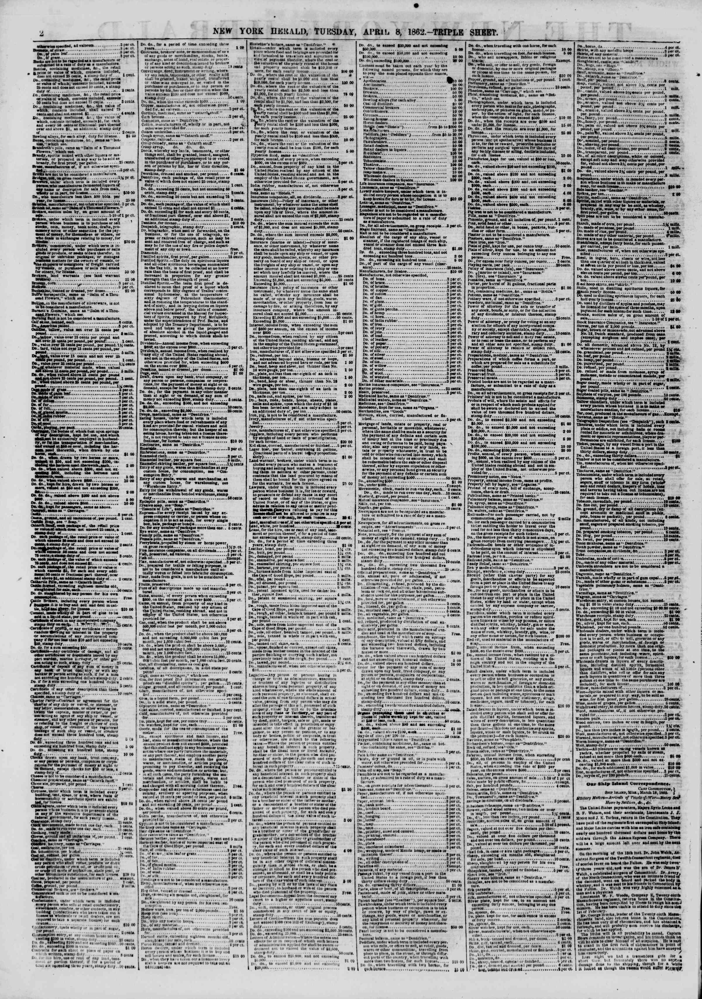 Newspaper of The New York Herald dated April 8, 1862 Page 2