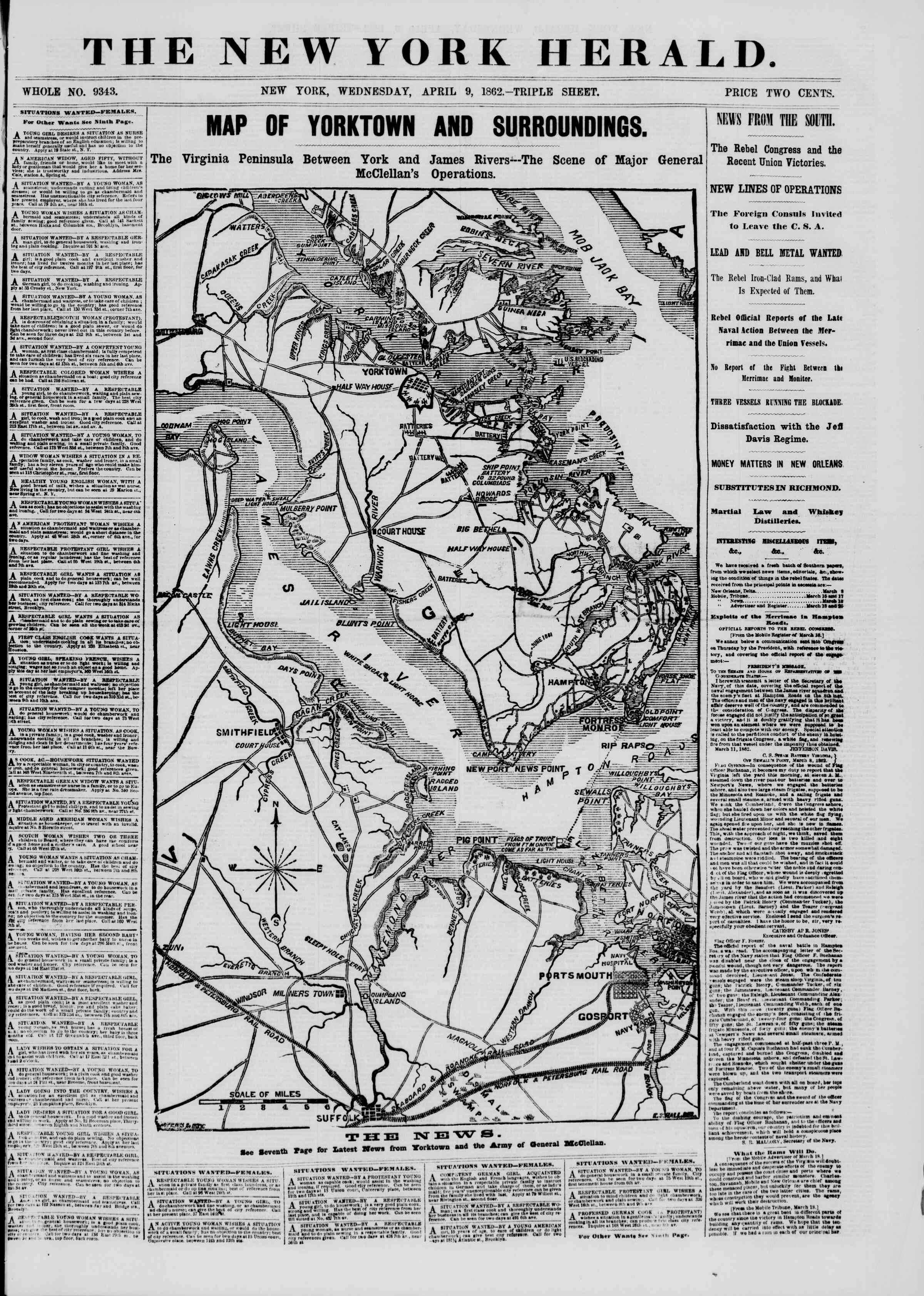 Newspaper of The New York Herald dated April 9, 1862 Page 1