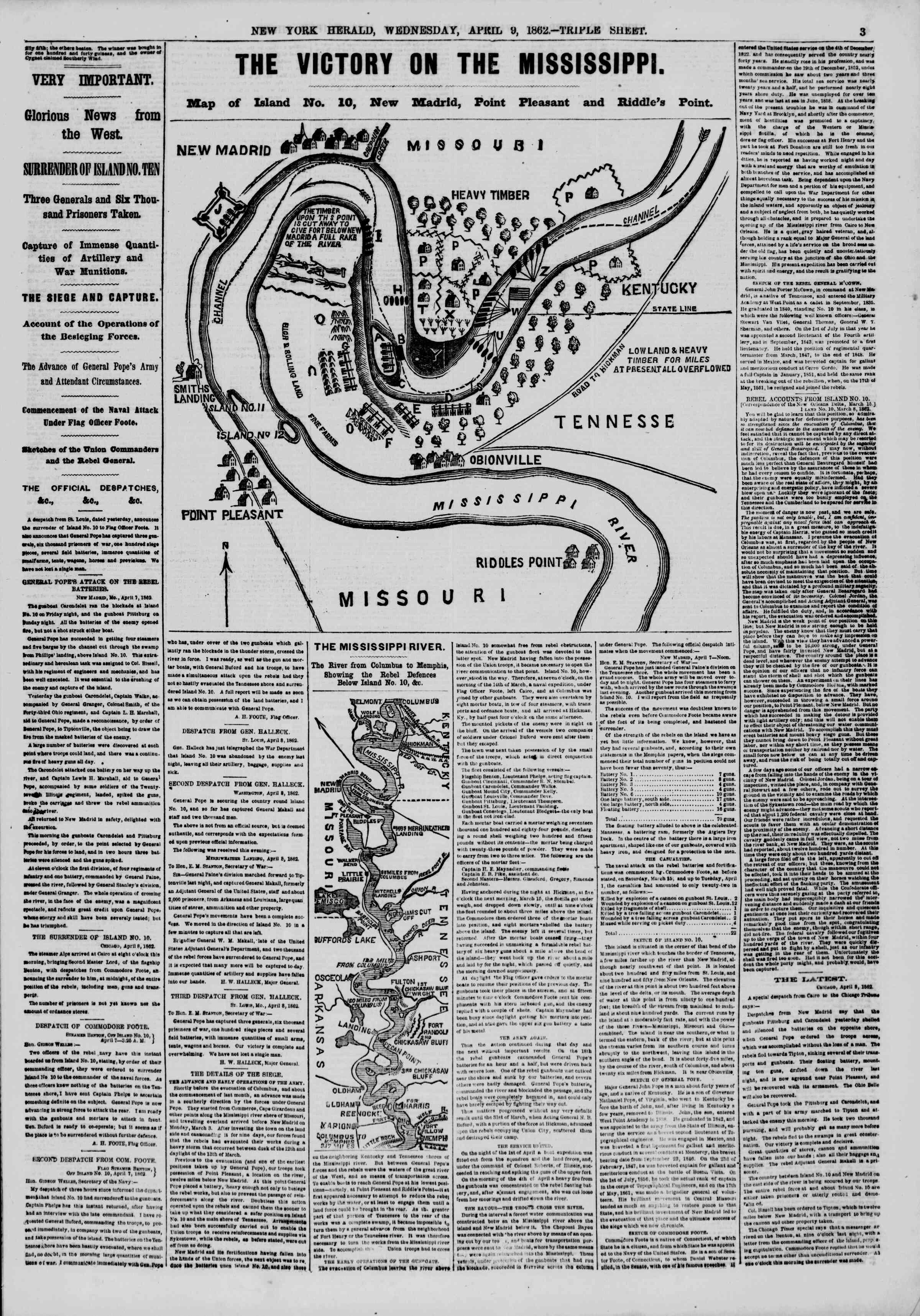 Newspaper of The New York Herald dated April 9, 1862 Page 3