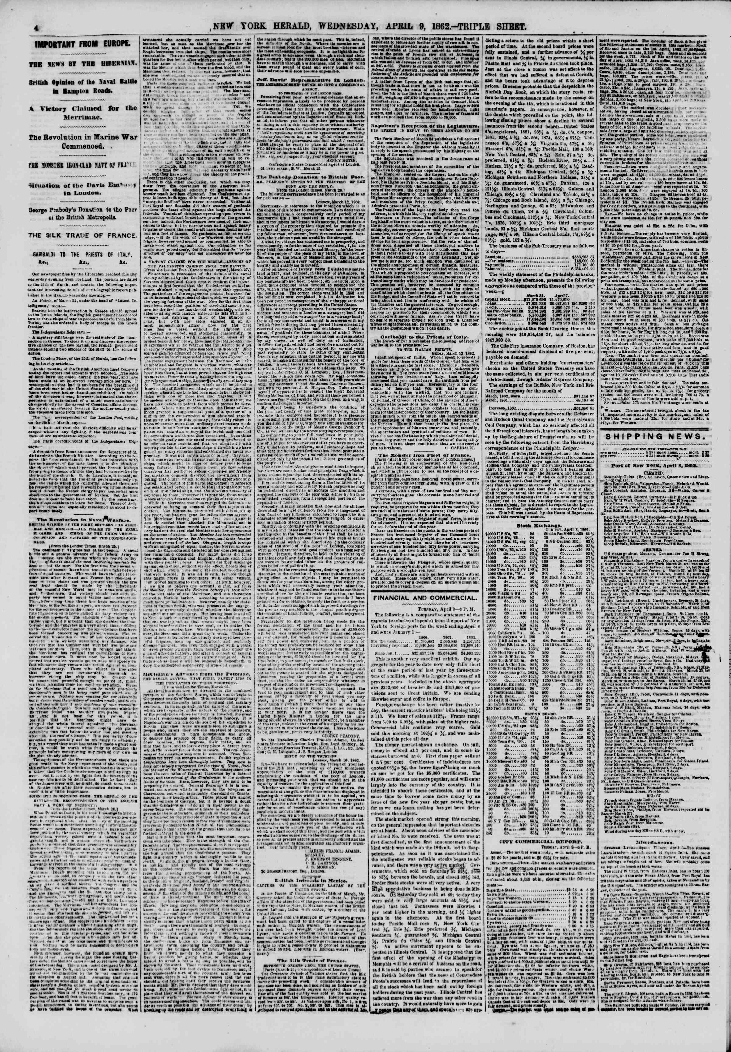 Newspaper of The New York Herald dated April 9, 1862 Page 4