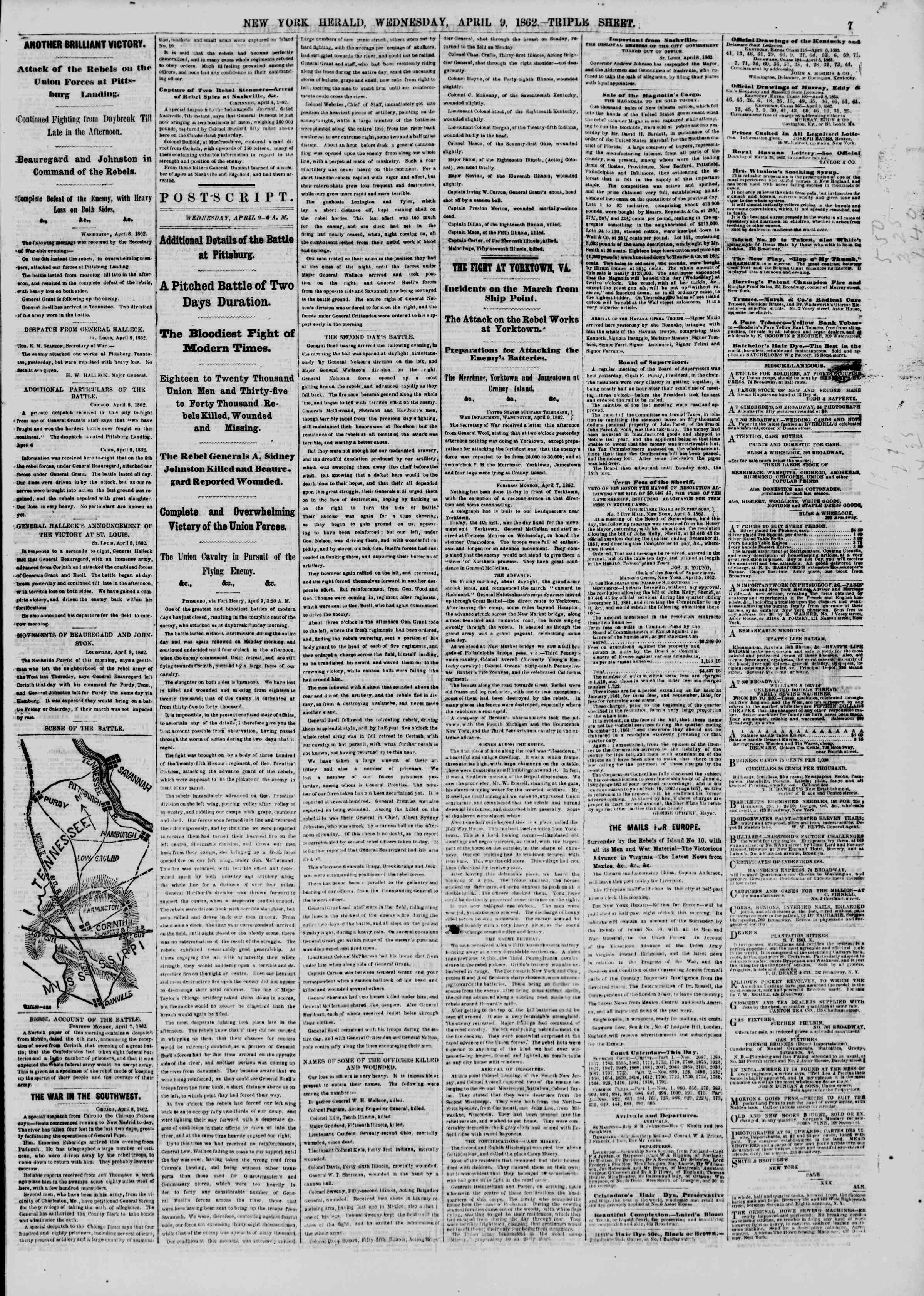 Newspaper of The New York Herald dated April 9, 1862 Page 7