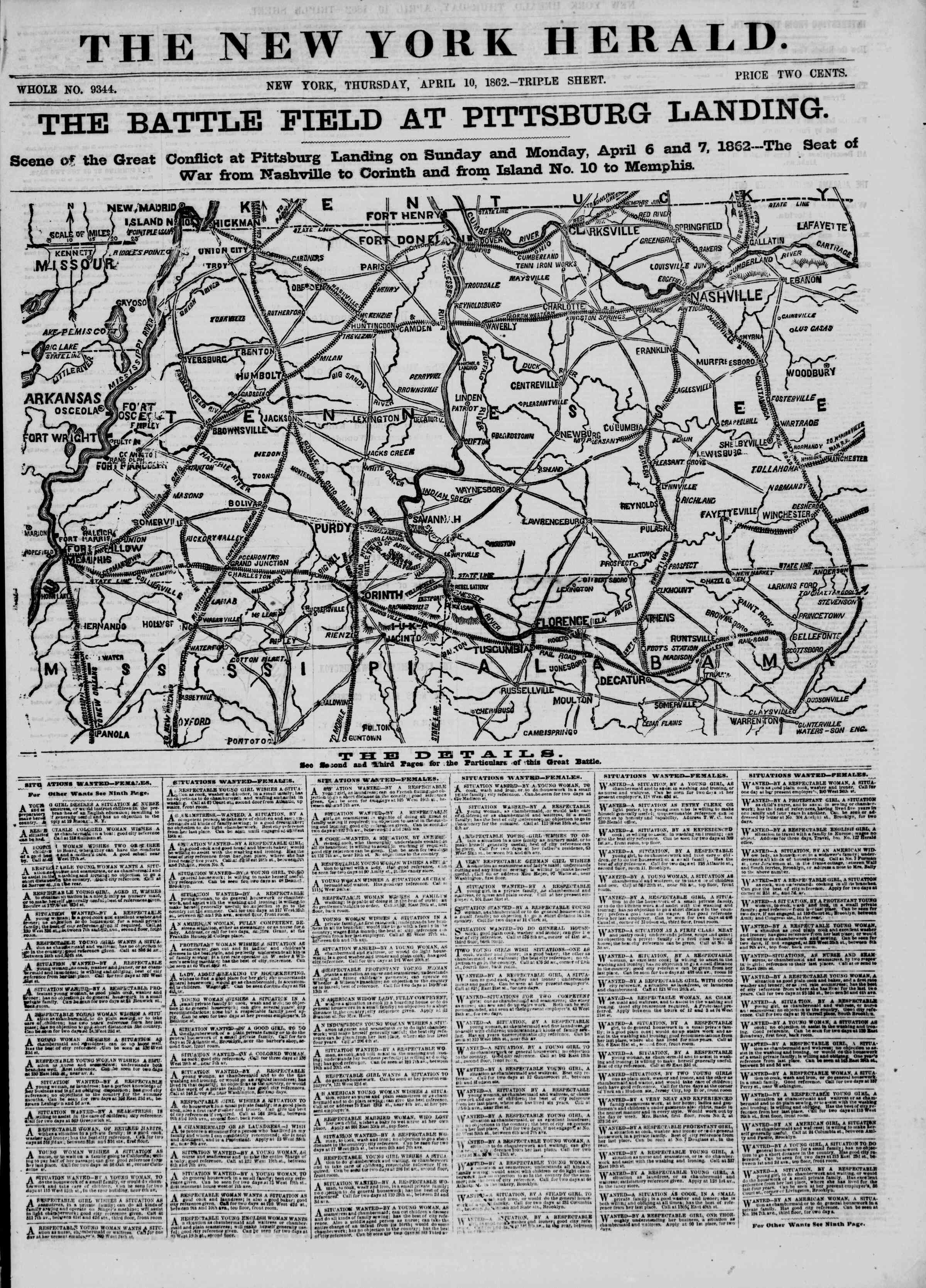 Newspaper of The New York Herald dated April 10, 1862 Page 1