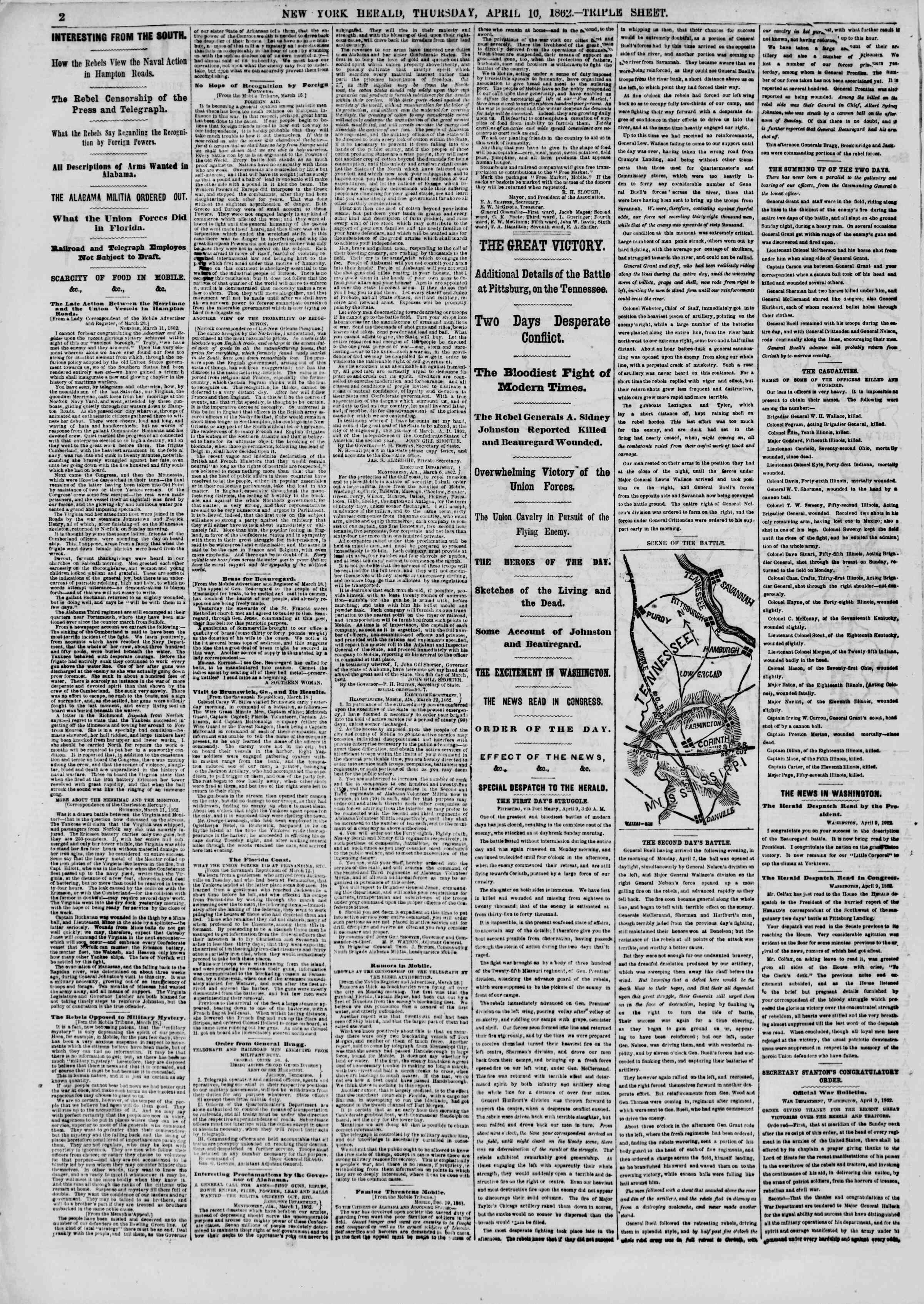 Newspaper of The New York Herald dated April 10, 1862 Page 2