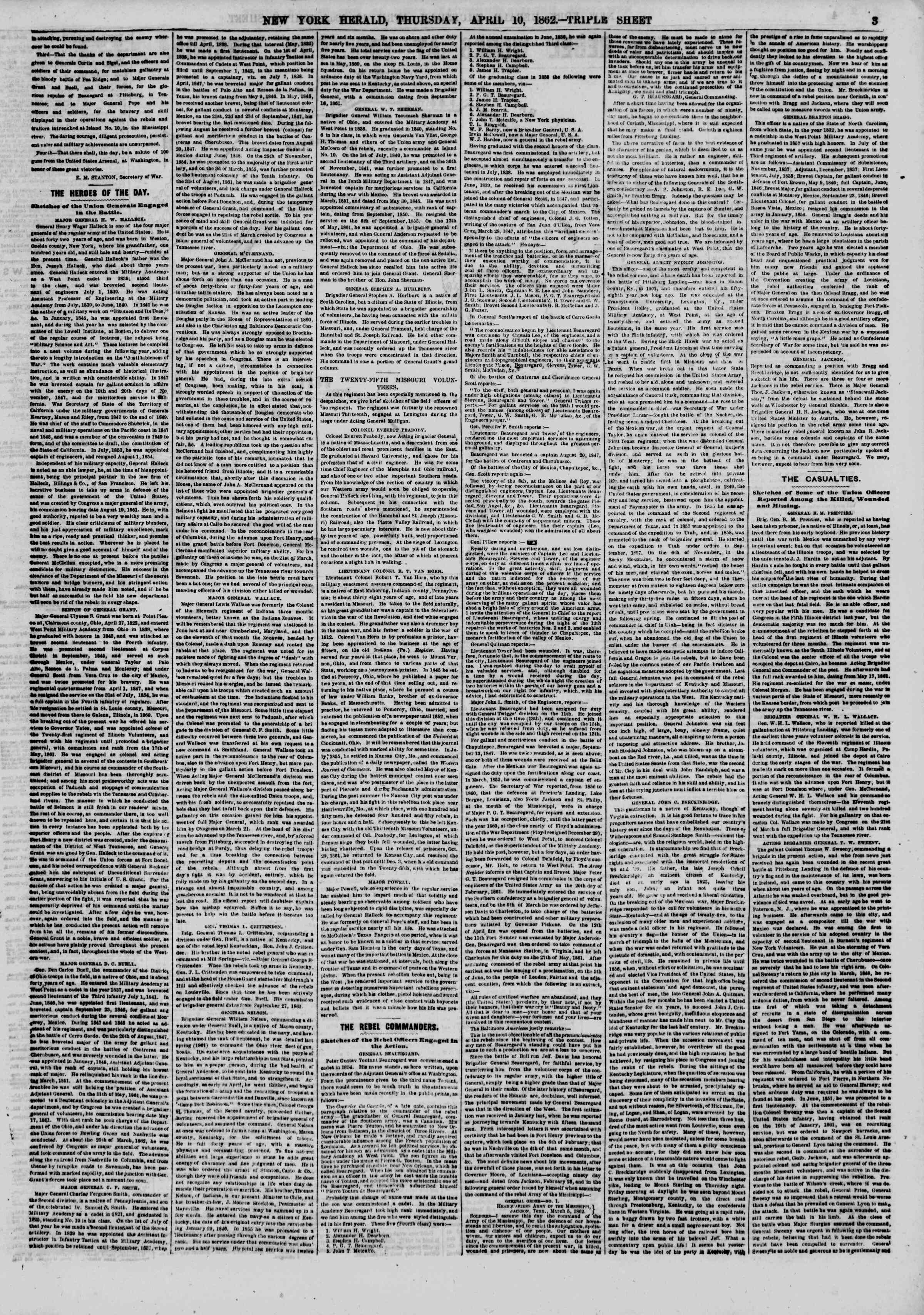 Newspaper of The New York Herald dated April 10, 1862 Page 3