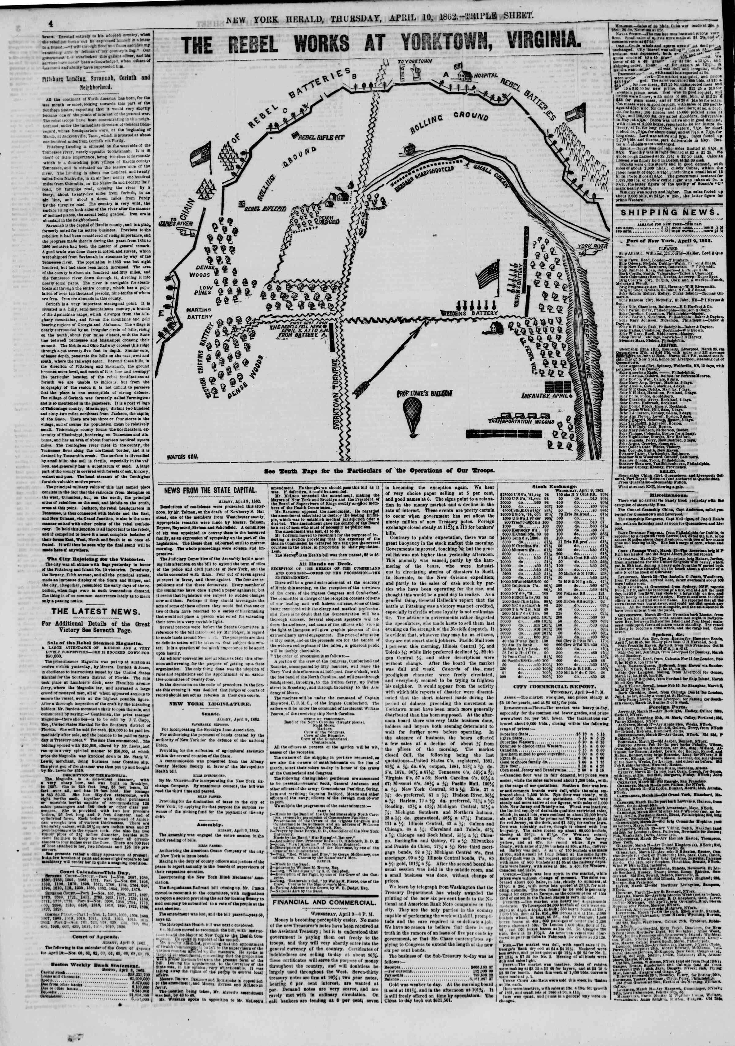 Newspaper of The New York Herald dated April 10, 1862 Page 4