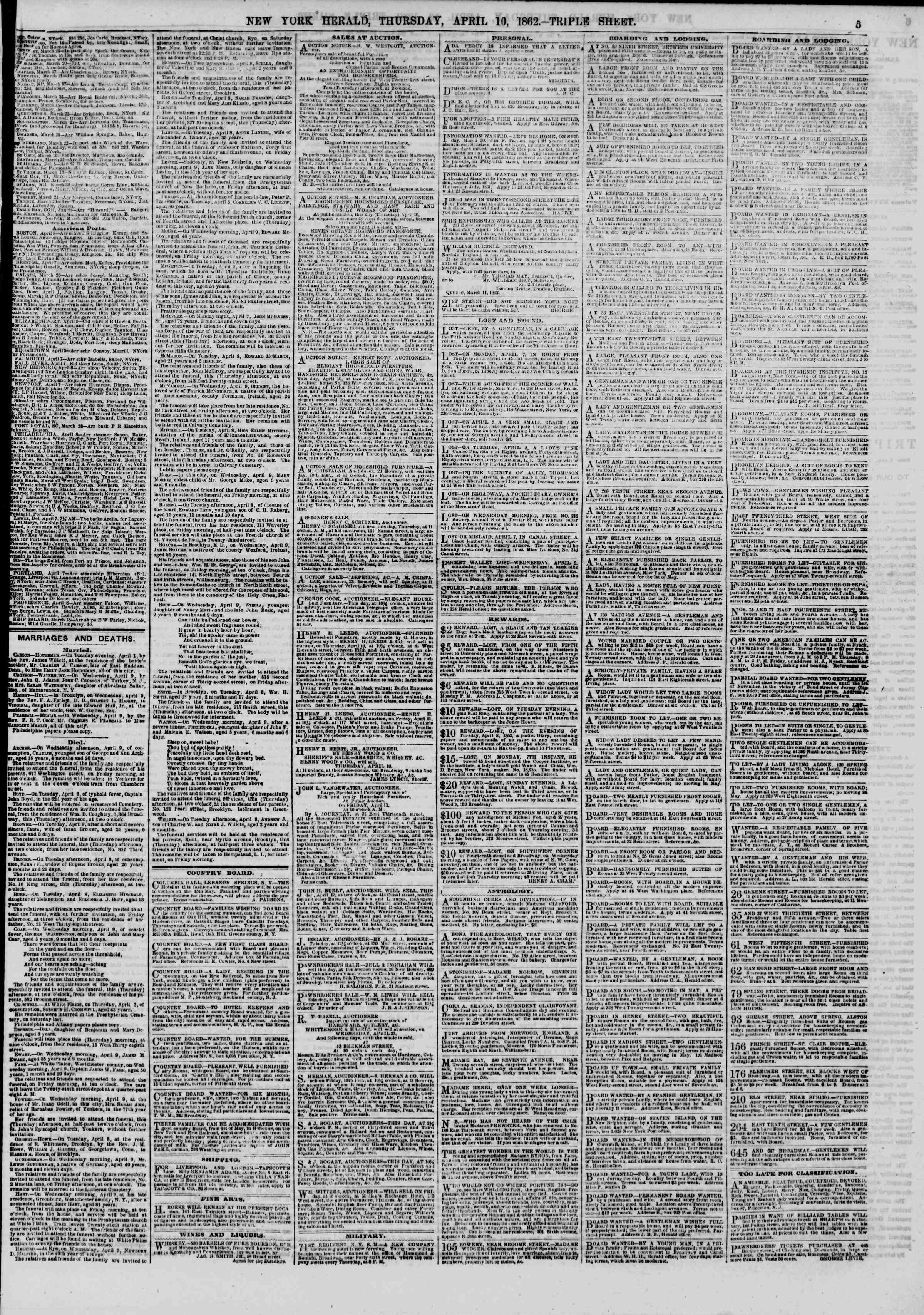 Newspaper of The New York Herald dated April 10, 1862 Page 5