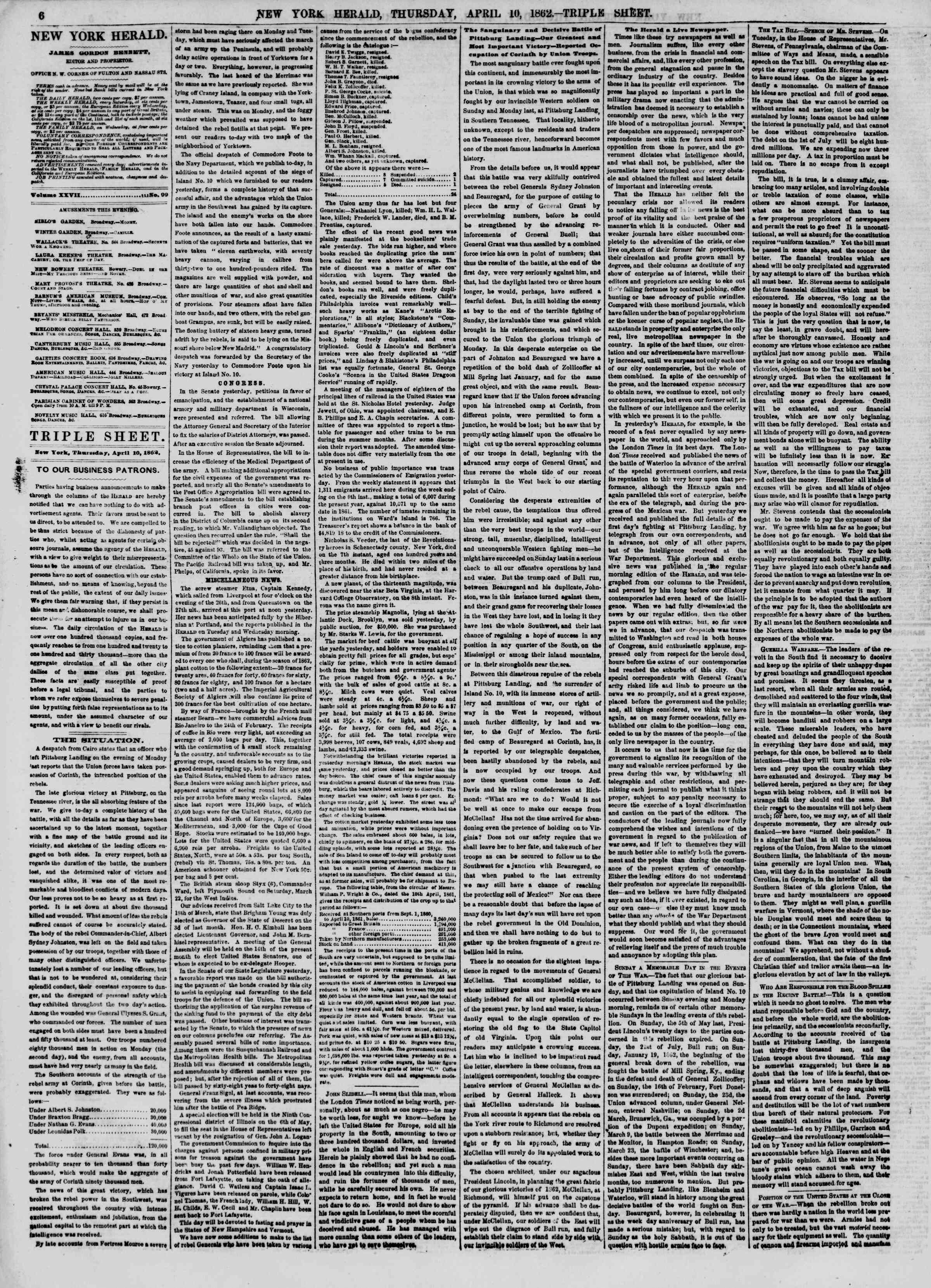 Newspaper of The New York Herald dated April 10, 1862 Page 6