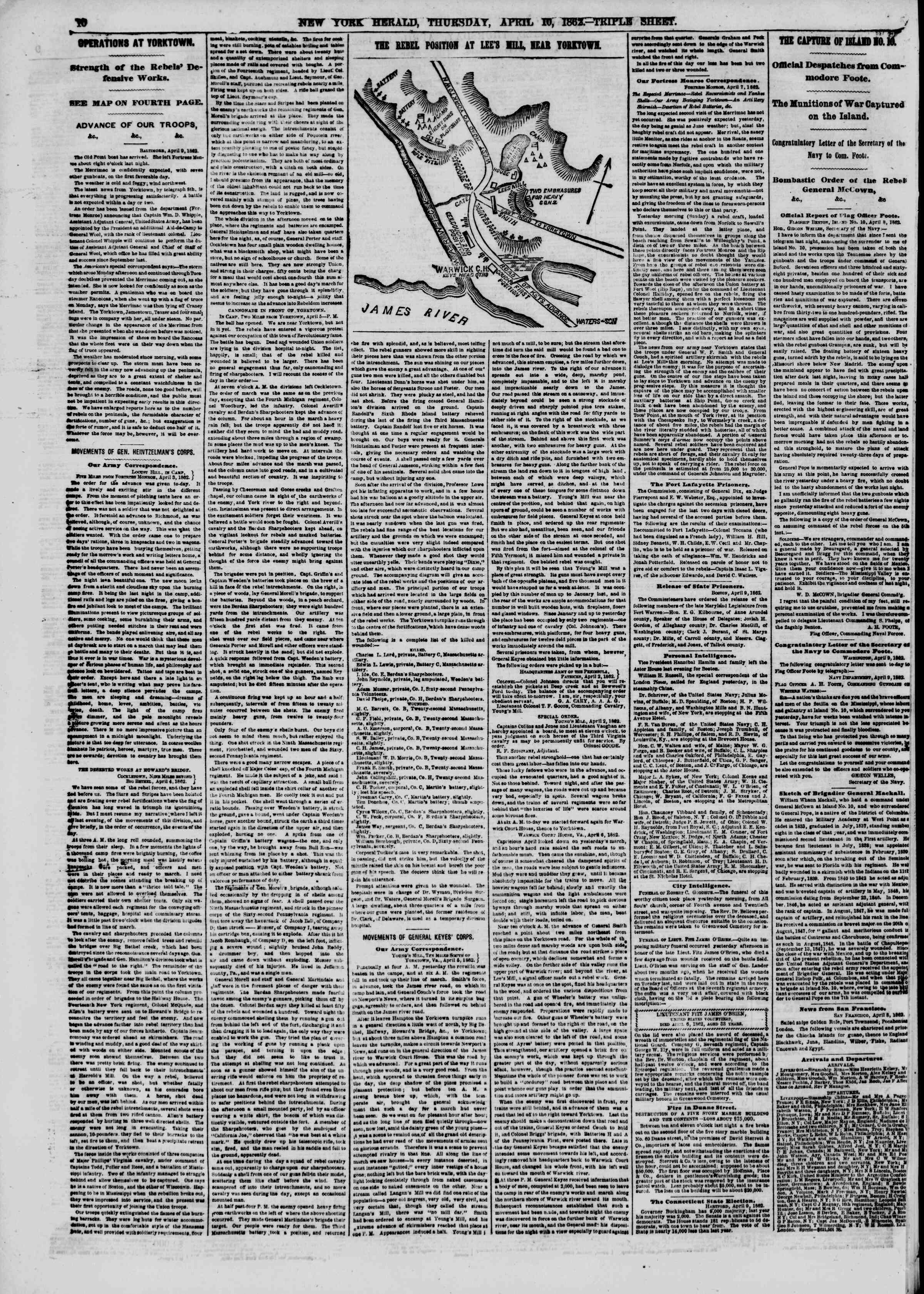Newspaper of The New York Herald dated April 10, 1862 Page 10