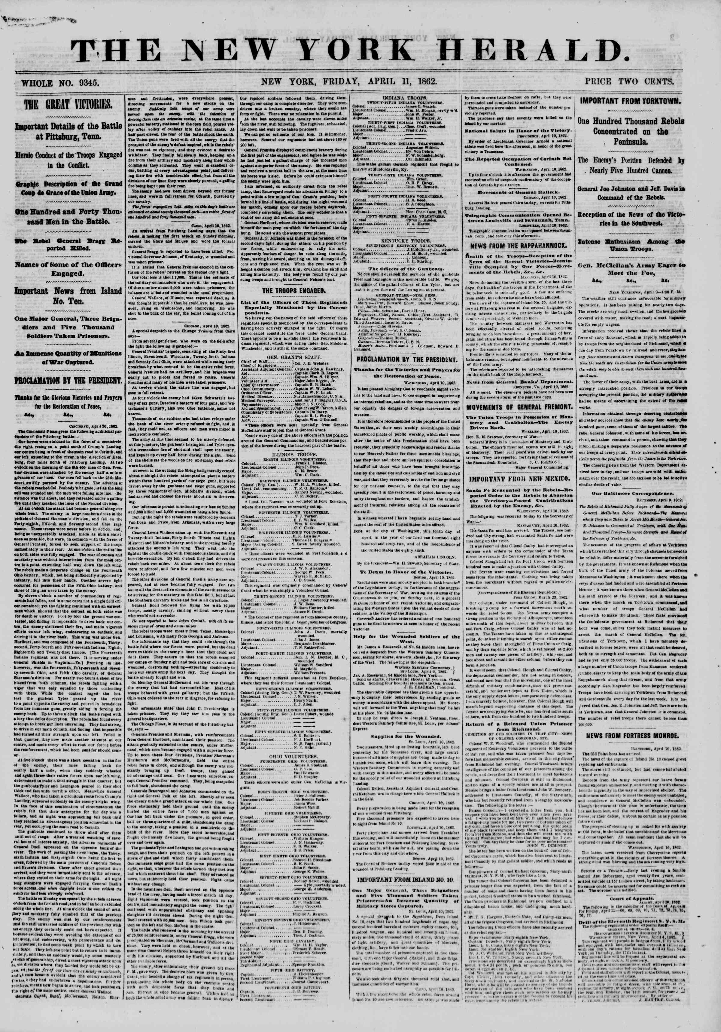 Newspaper of The New York Herald dated April 11, 1862 Page 1