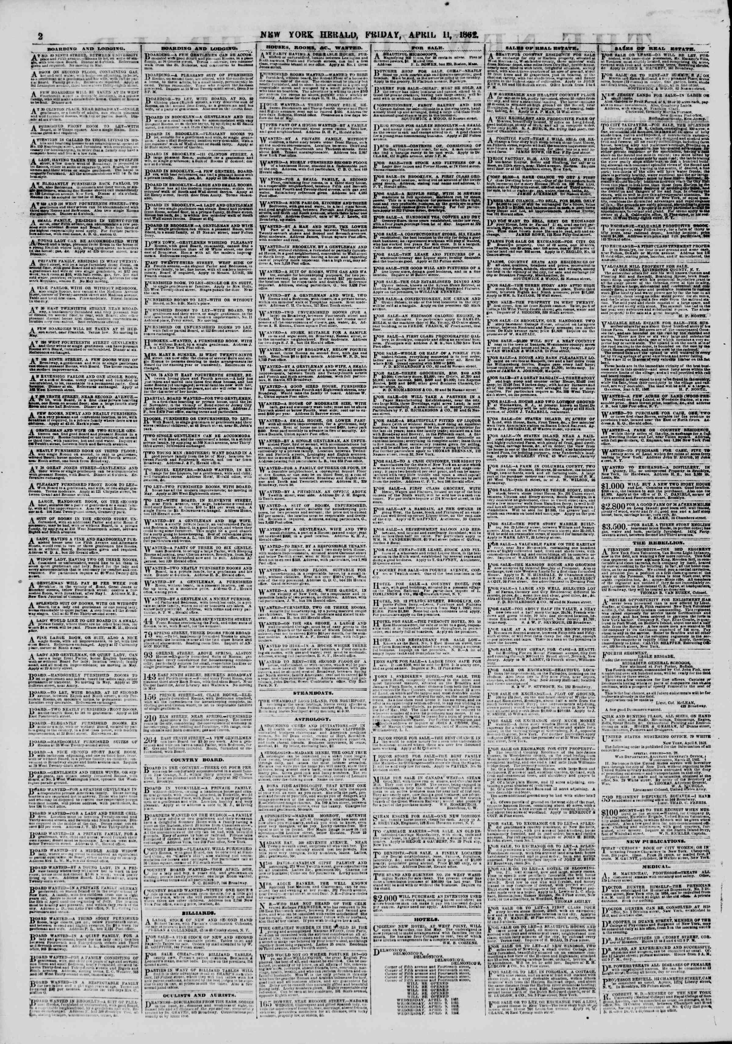 Newspaper of The New York Herald dated April 11, 1862 Page 2