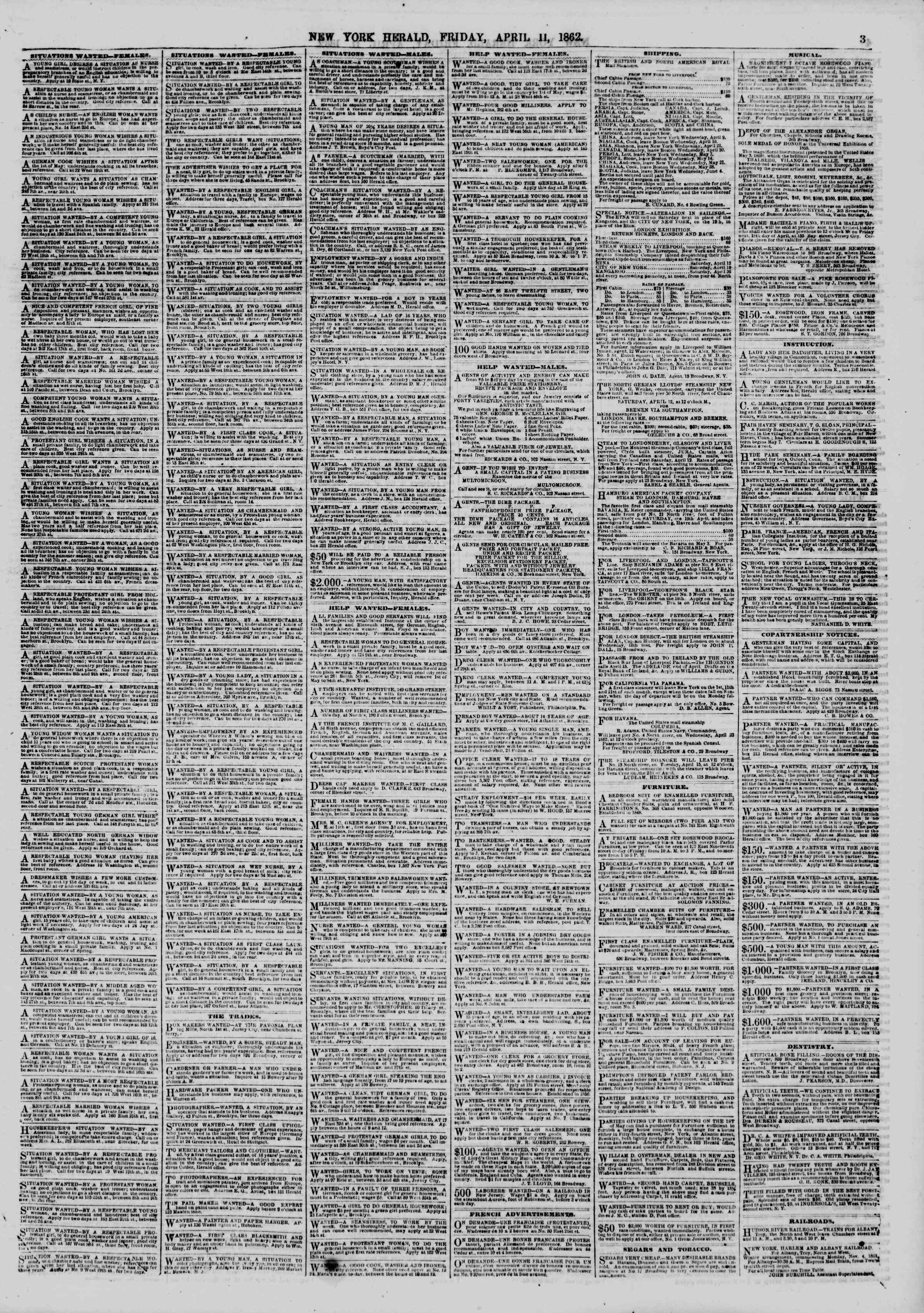Newspaper of The New York Herald dated April 11, 1862 Page 3