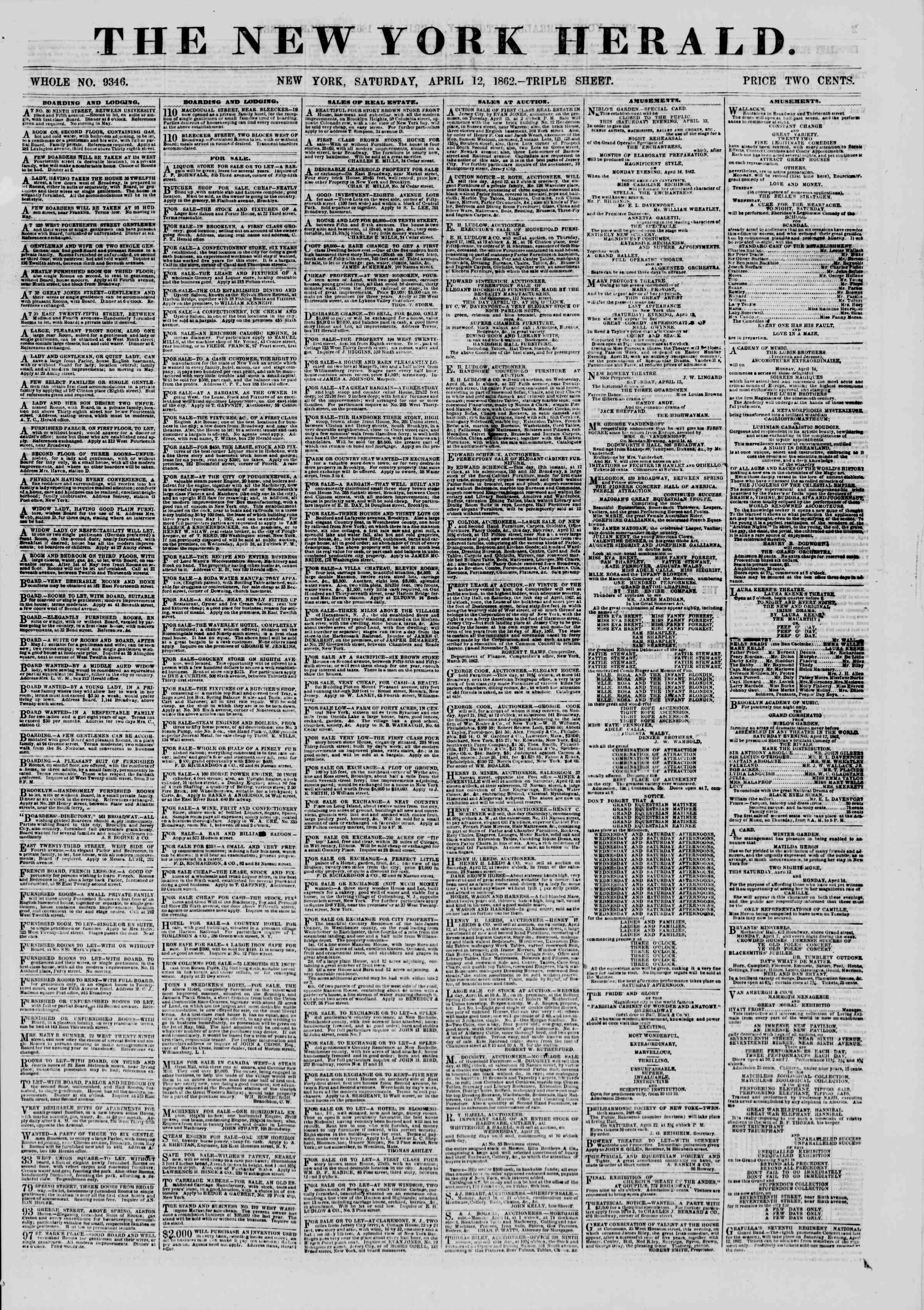 Newspaper of The New York Herald dated April 12, 1862 Page 1