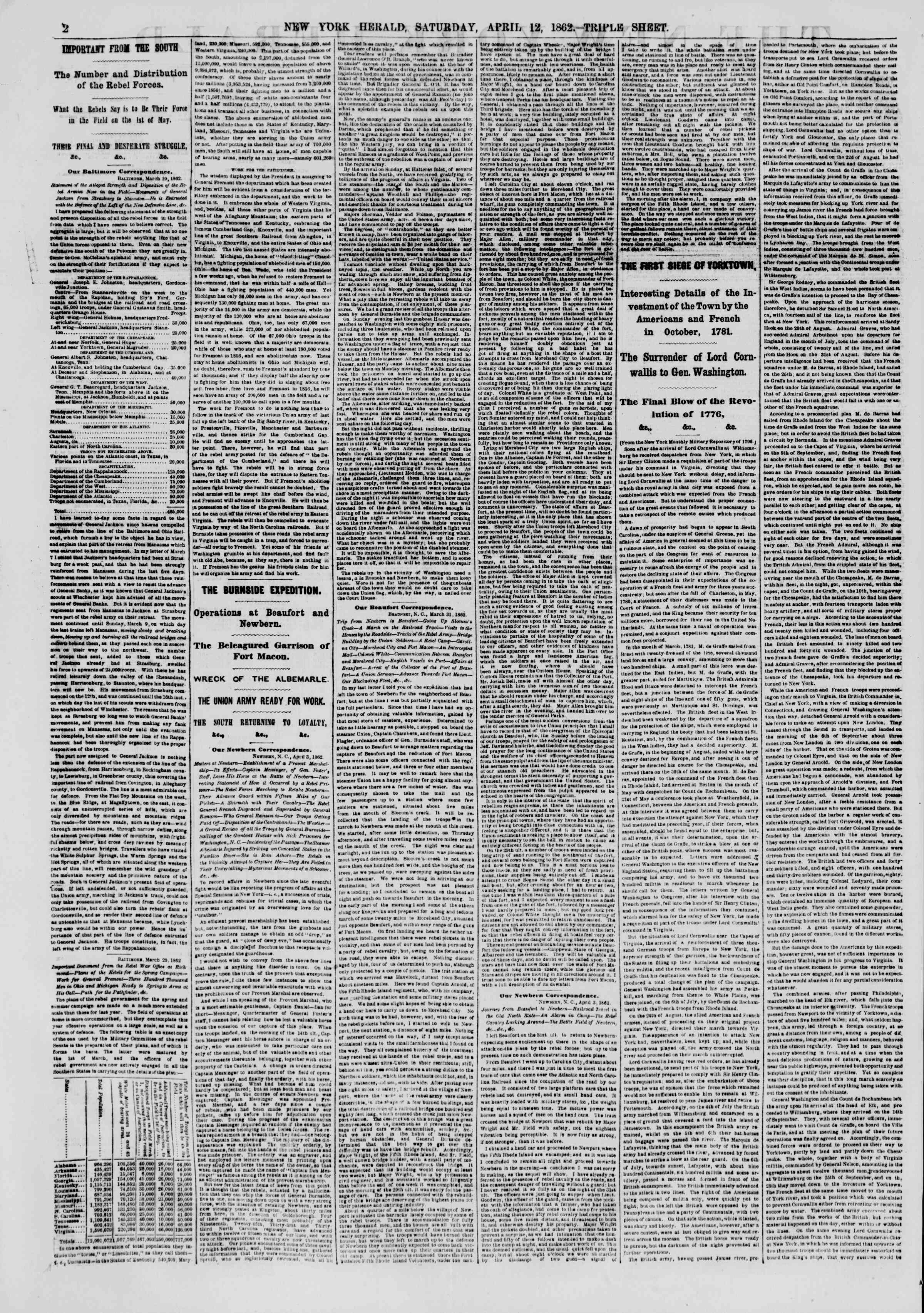 Newspaper of The New York Herald dated April 12, 1862 Page 2