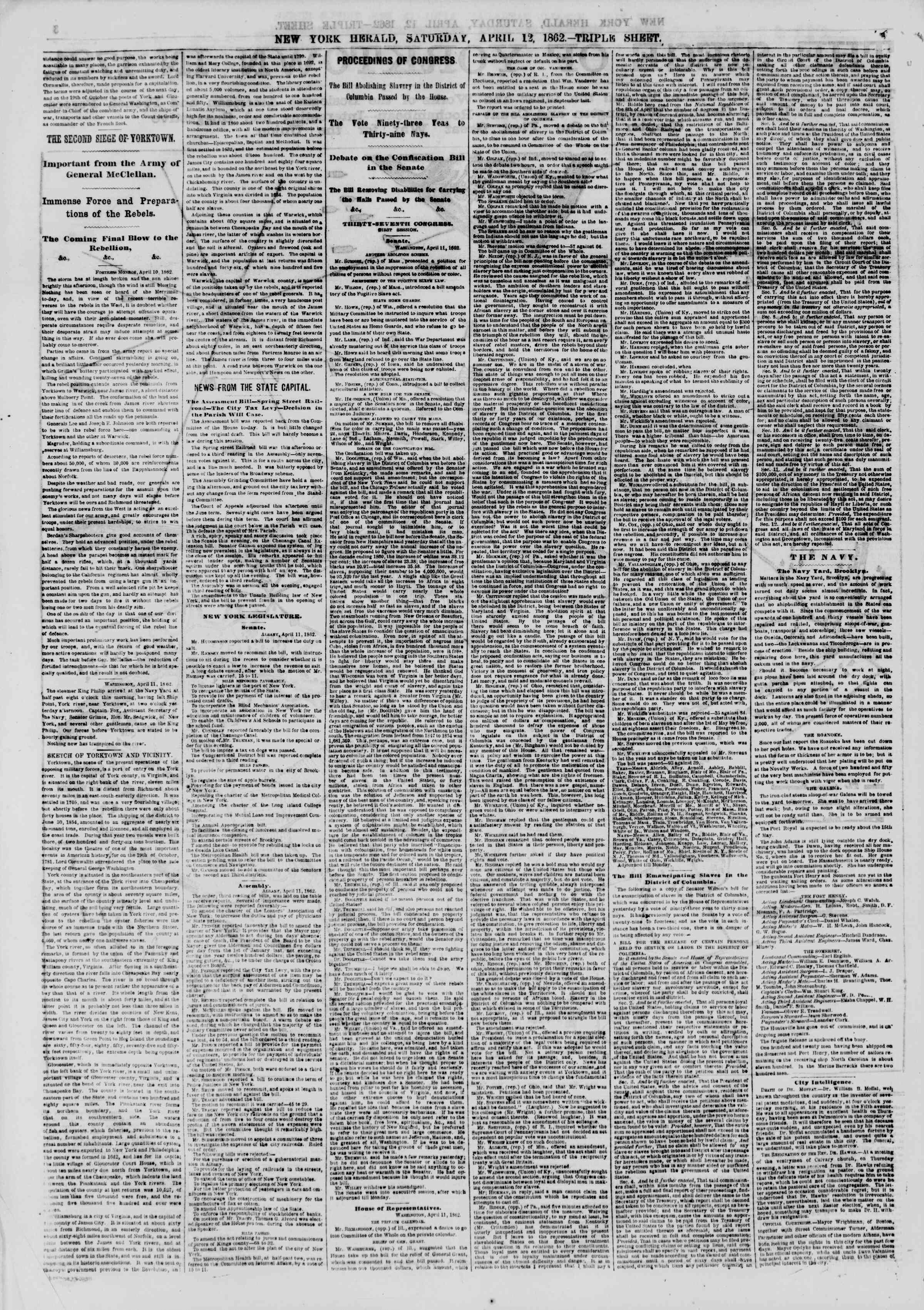Newspaper of The New York Herald dated April 12, 1862 Page 4