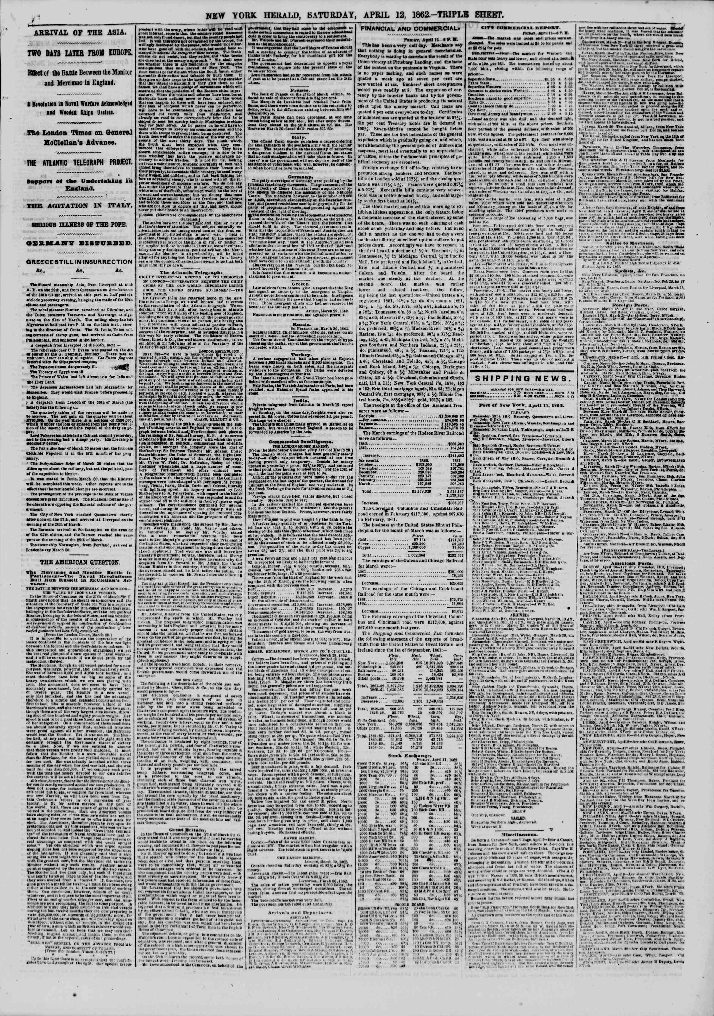 Newspaper of The New York Herald dated April 12, 1862 Page 5