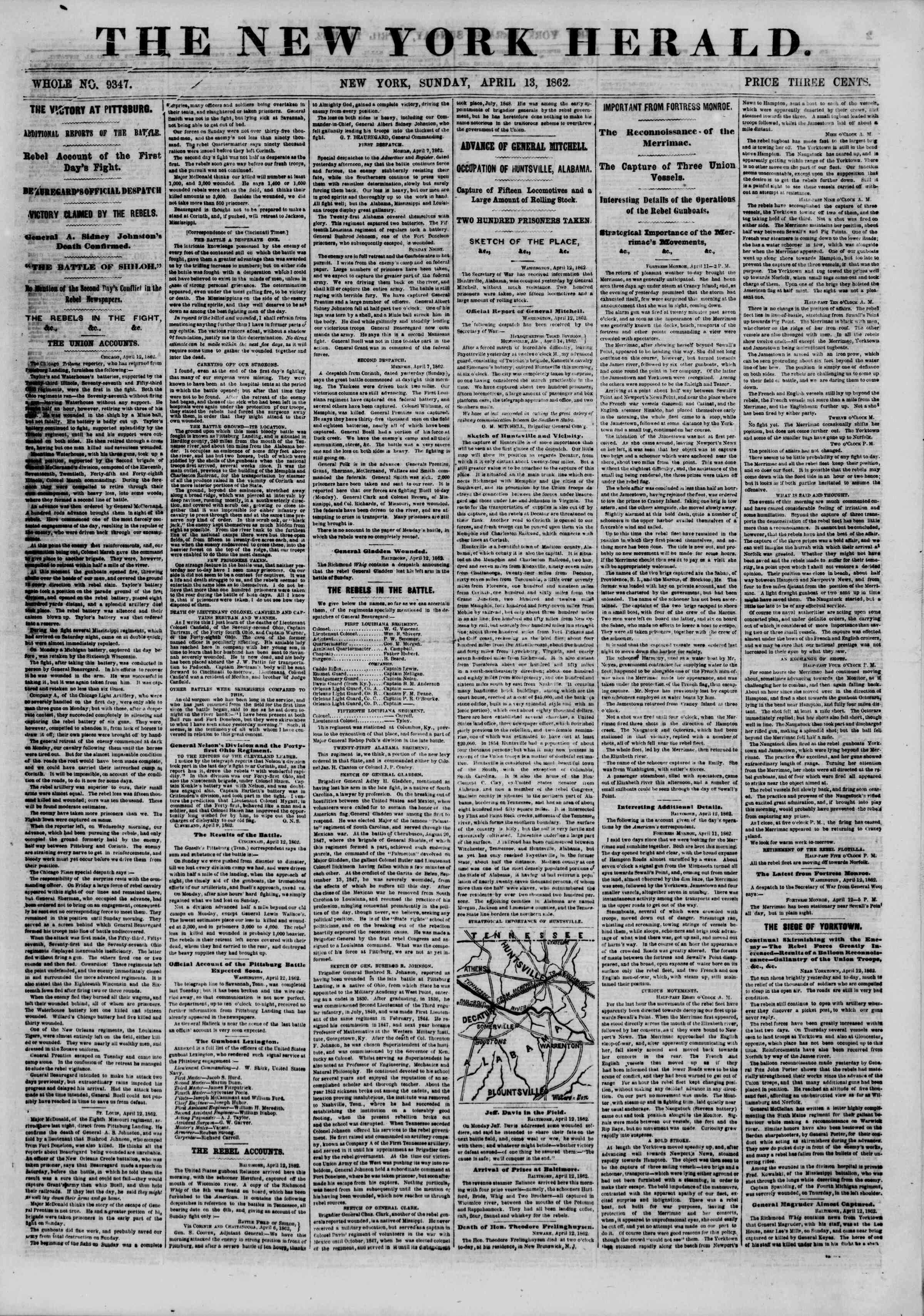 13 Nisan 1862 tarihli The New York Herald Gazetesi Sayfa 1