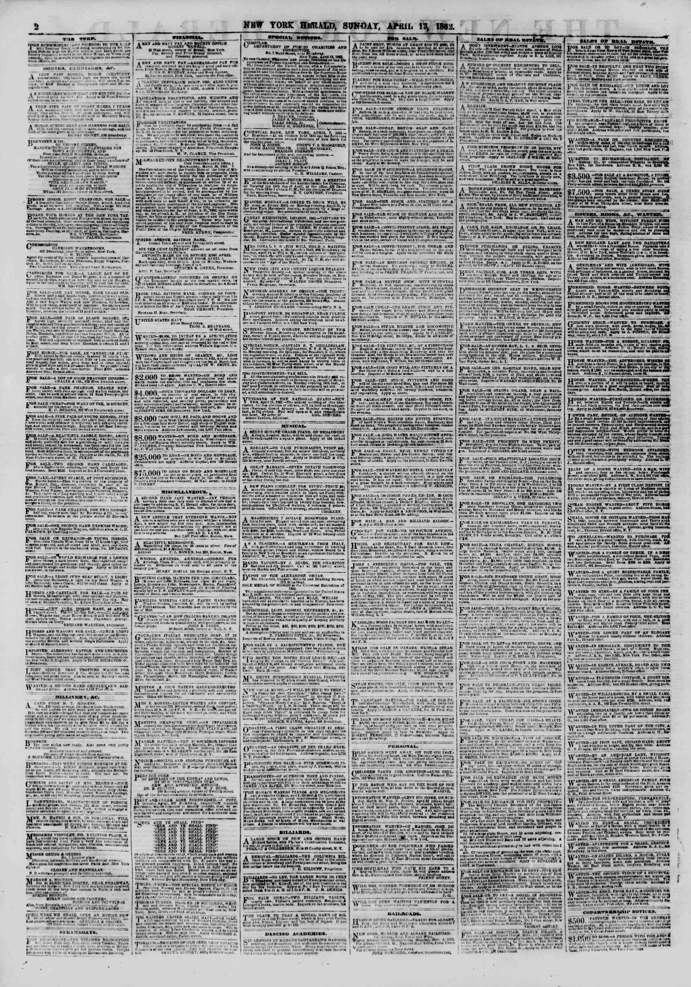 Newspaper of The New York Herald dated April 13, 1862 Page 2