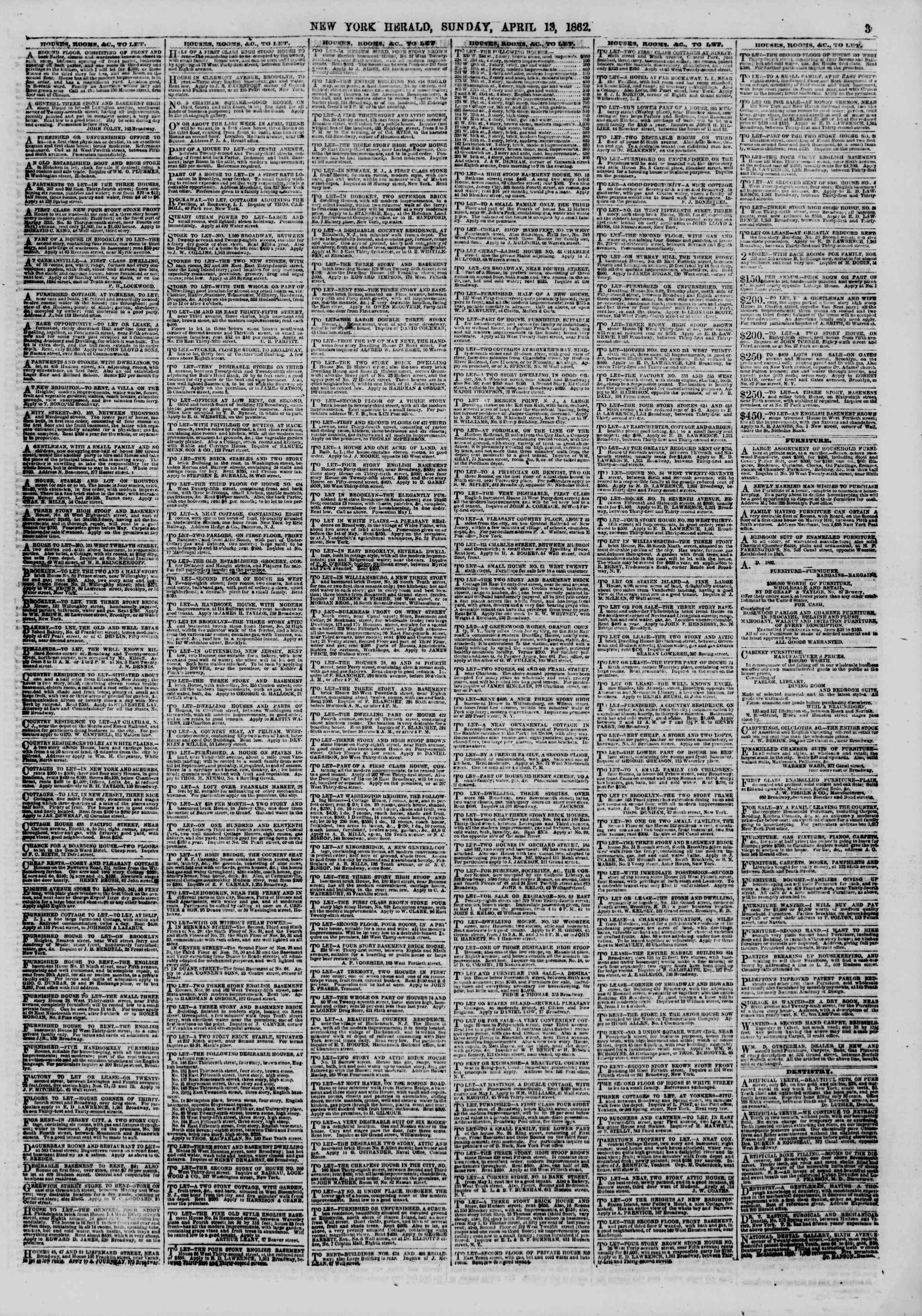 Newspaper of The New York Herald dated April 13, 1862 Page 3
