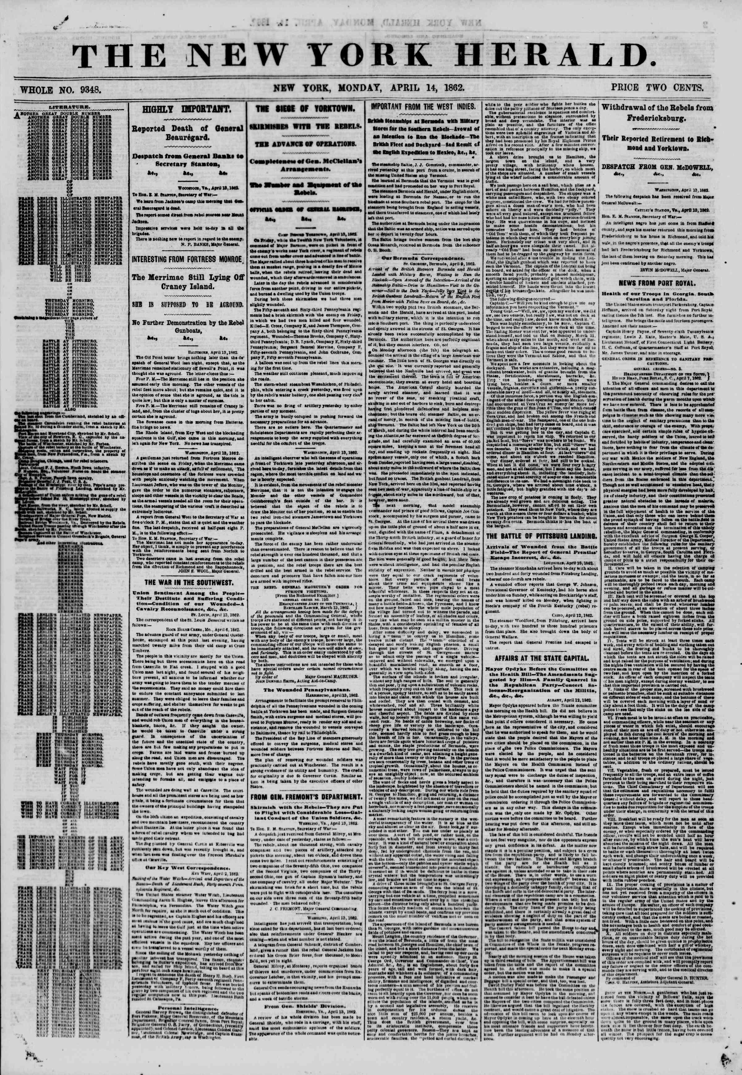 14 Nisan 1862 tarihli The New York Herald Gazetesi Sayfa 1