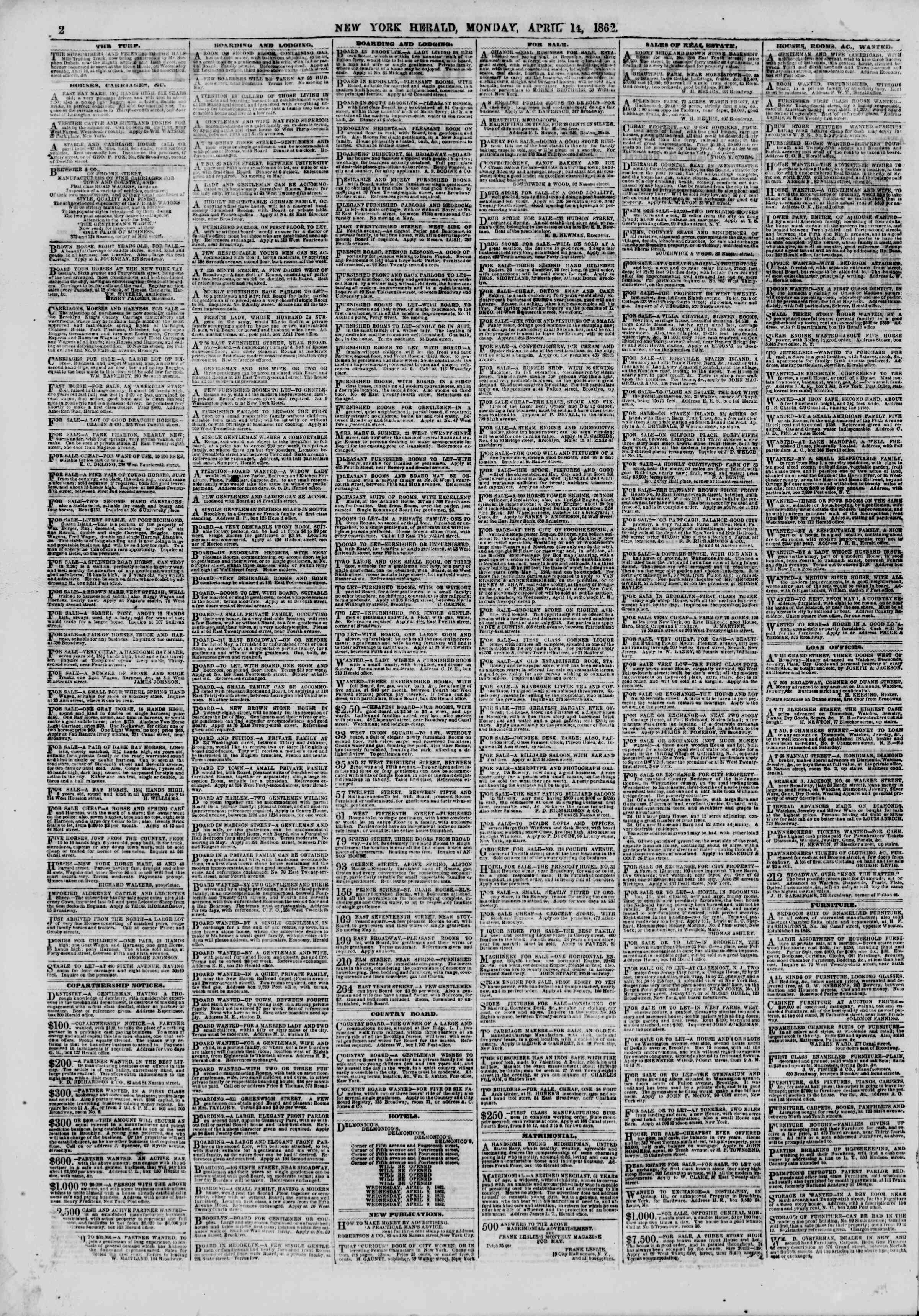 Newspaper of The New York Herald dated April 14, 1862 Page 2