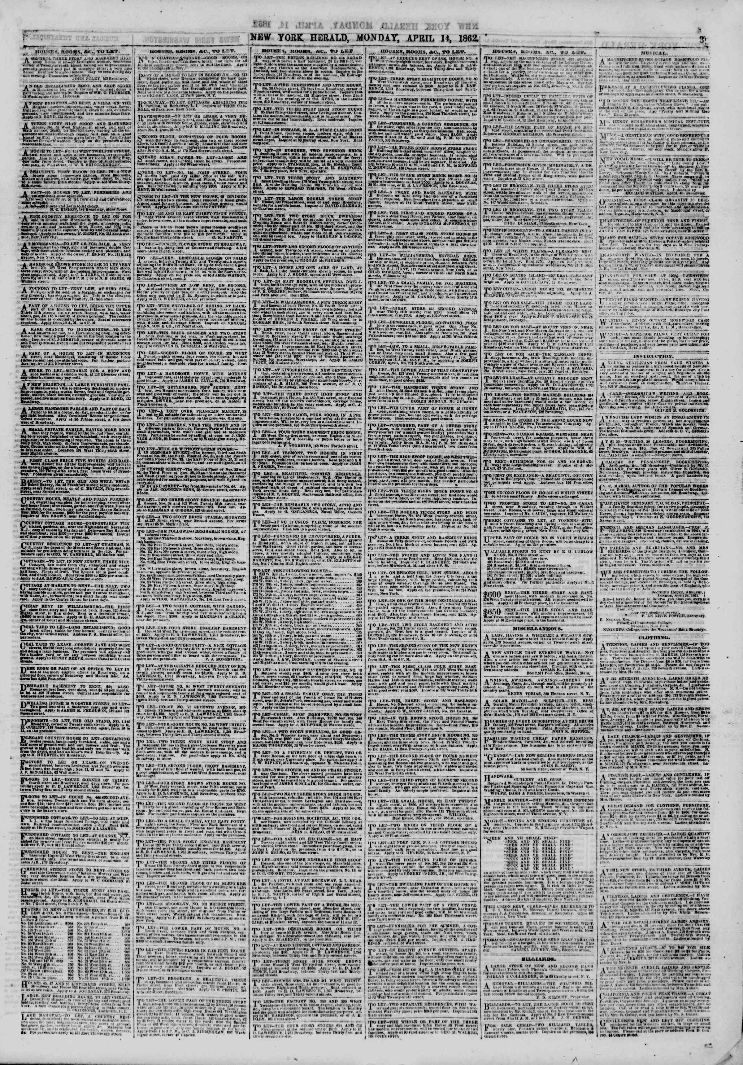 Newspaper of The New York Herald dated April 14, 1862 Page 3