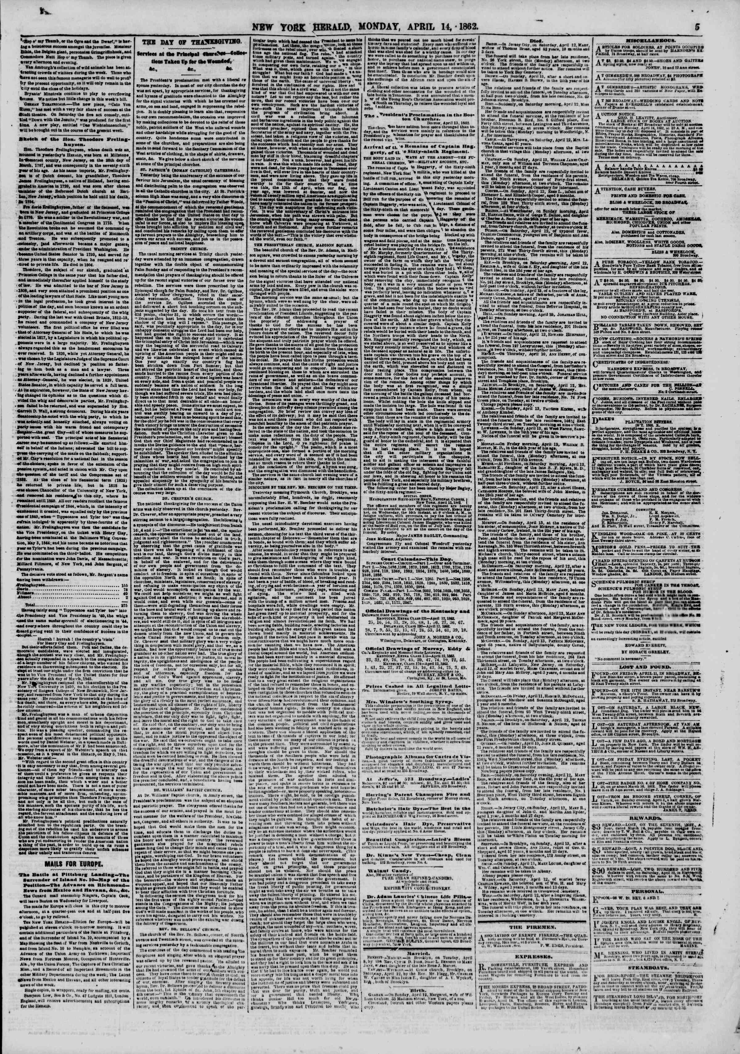 Newspaper of The New York Herald dated April 14, 1862 Page 5