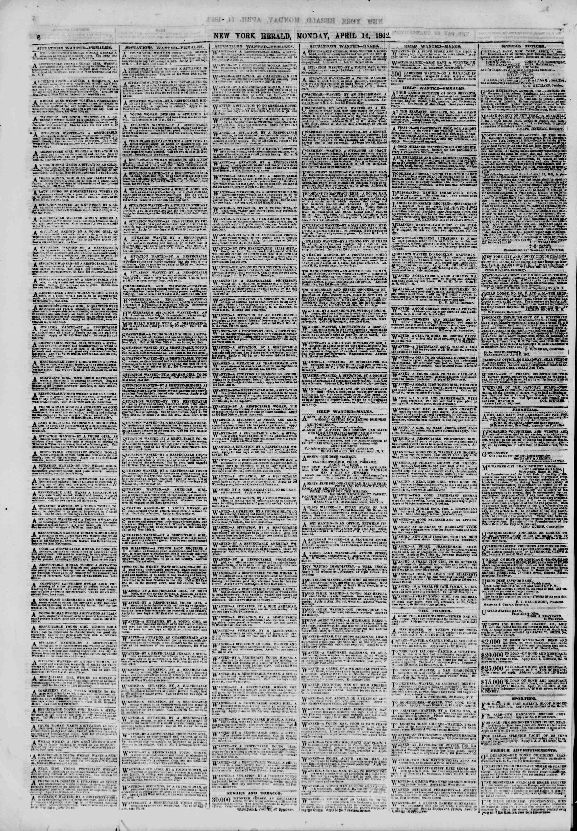 Newspaper of The New York Herald dated April 14, 1862 Page 6