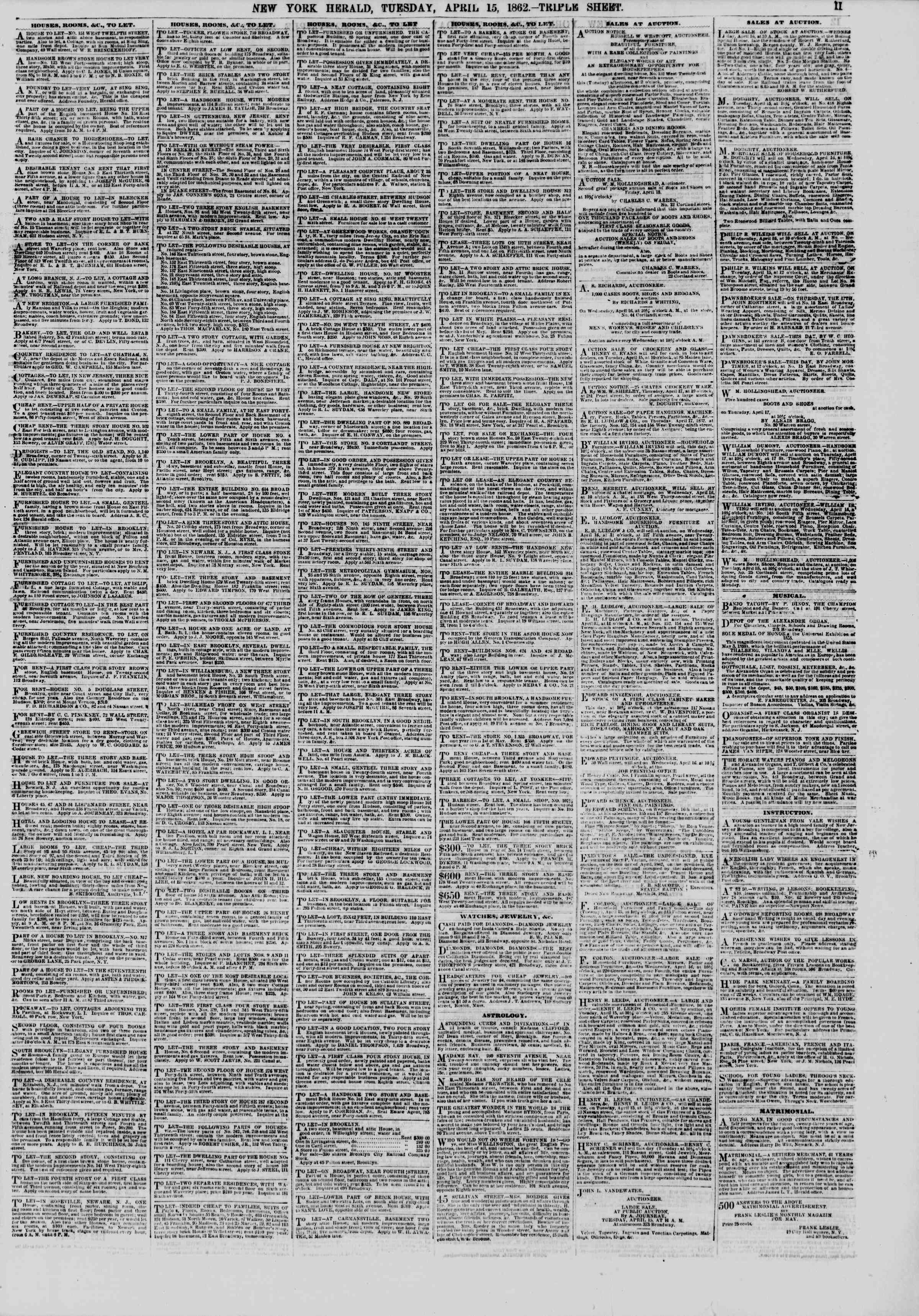 Newspaper of The New York Herald dated April 15, 1862 Page 11