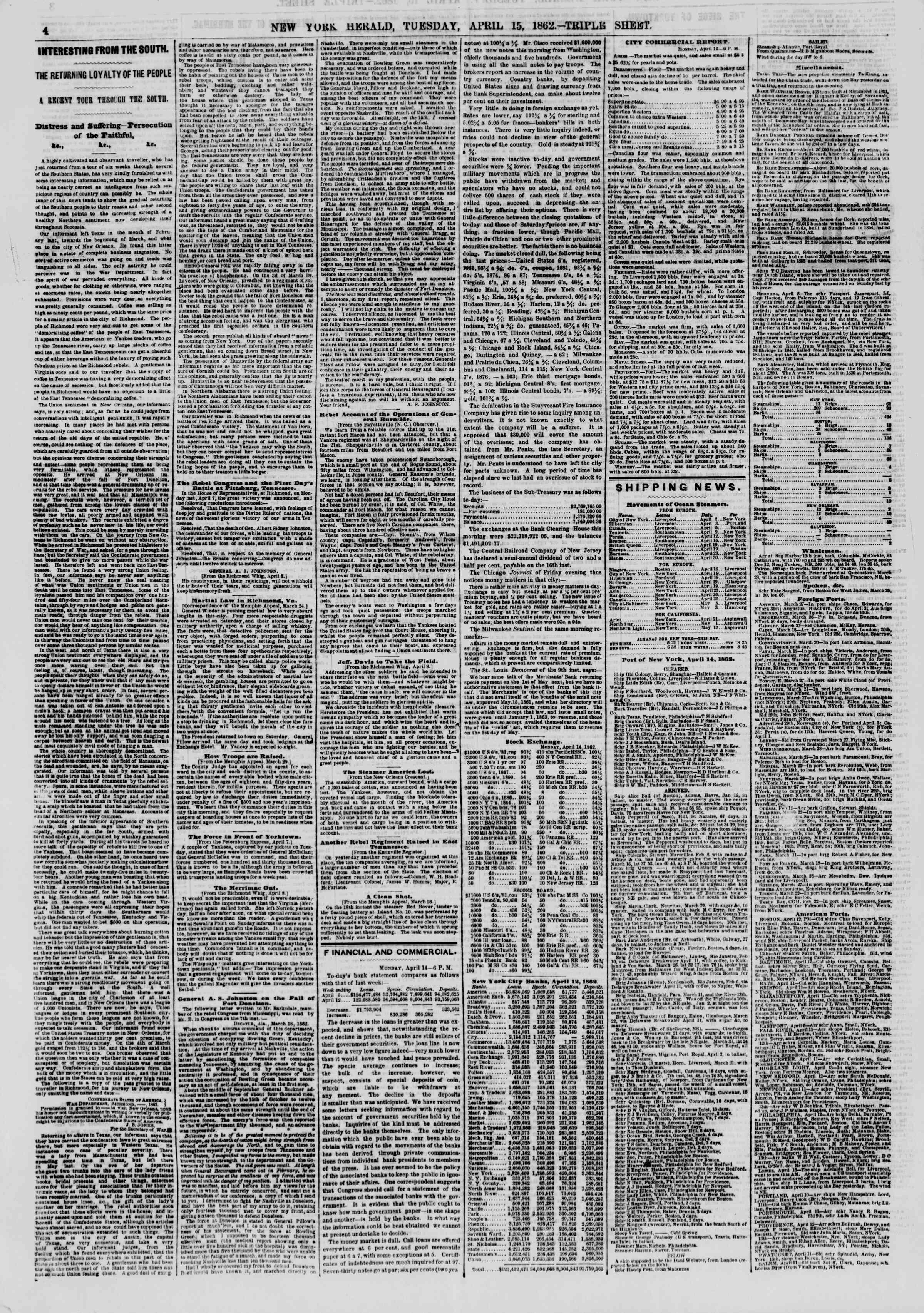 15 Nisan 1862 tarihli The New York Herald Gazetesi Sayfa 4