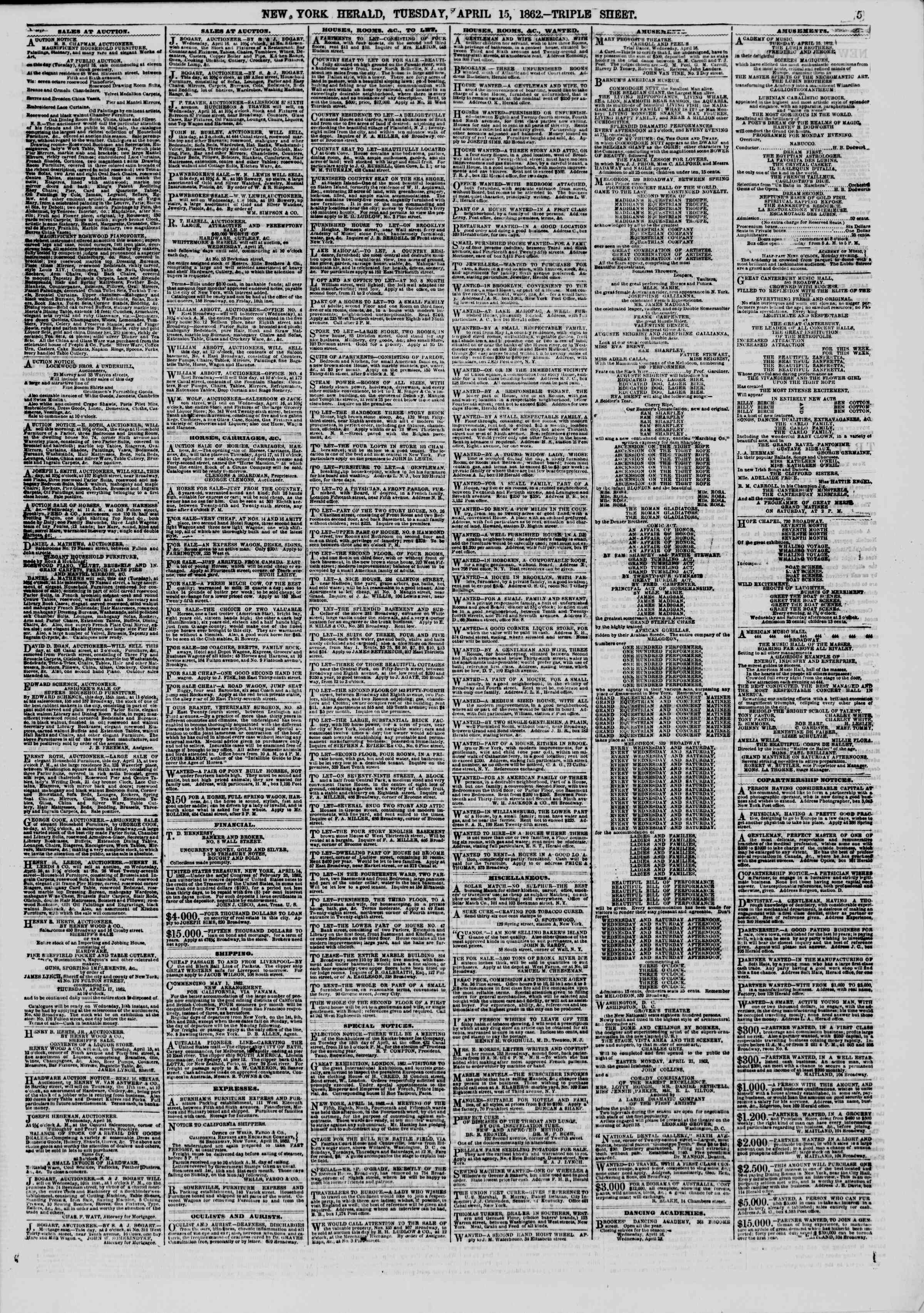 Newspaper of The New York Herald dated April 15, 1862 Page 5